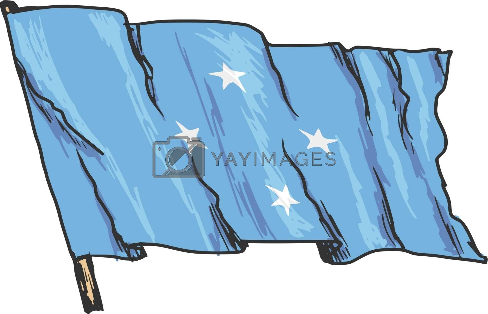 hand drawn, sketch, illustration of flag of Micronesia