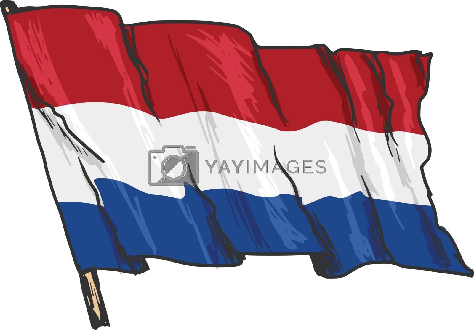hand drawn, sketch, illustration of flag of Netherlands