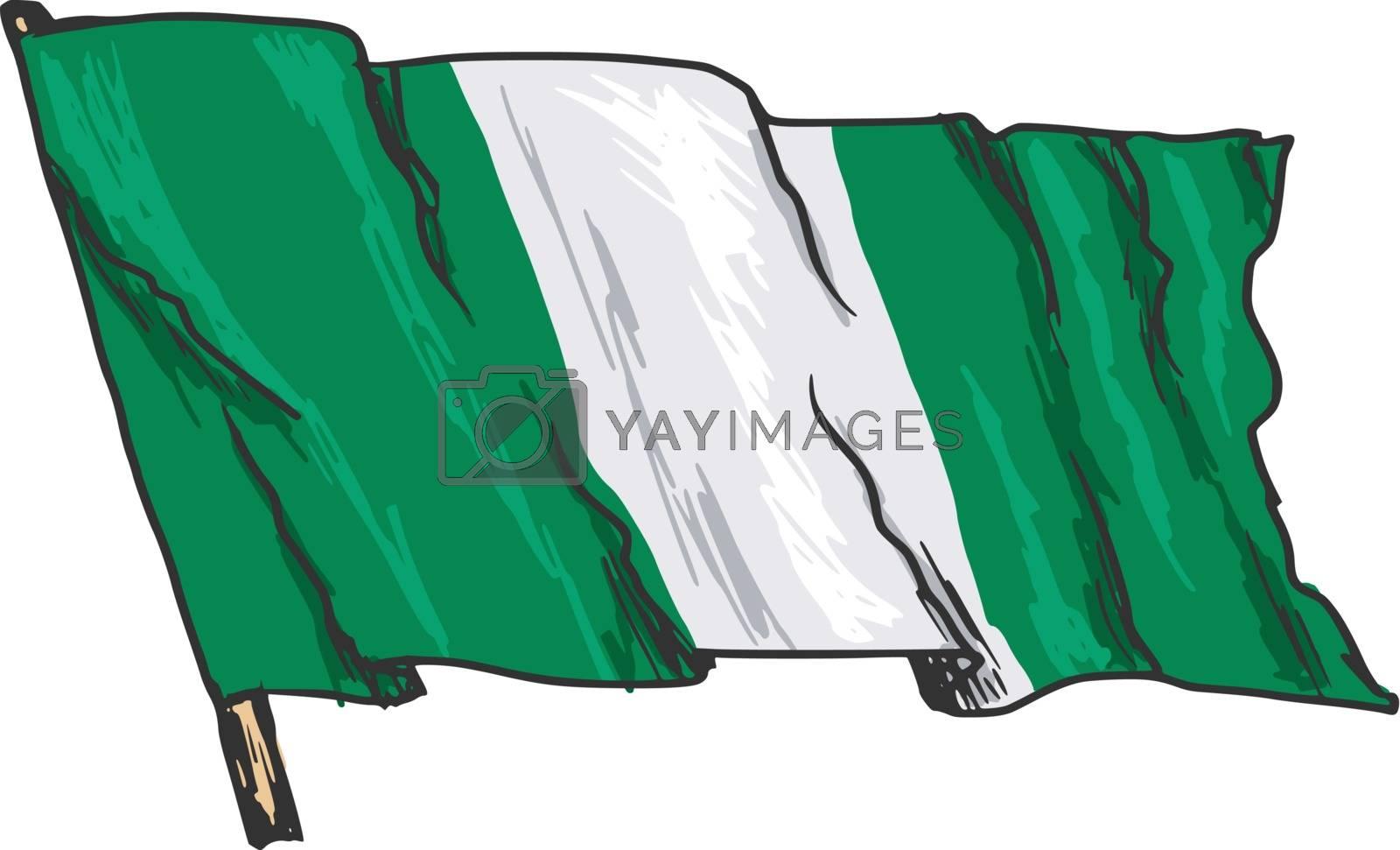 hand drawn, sketch, illustration of flag of Nigeria