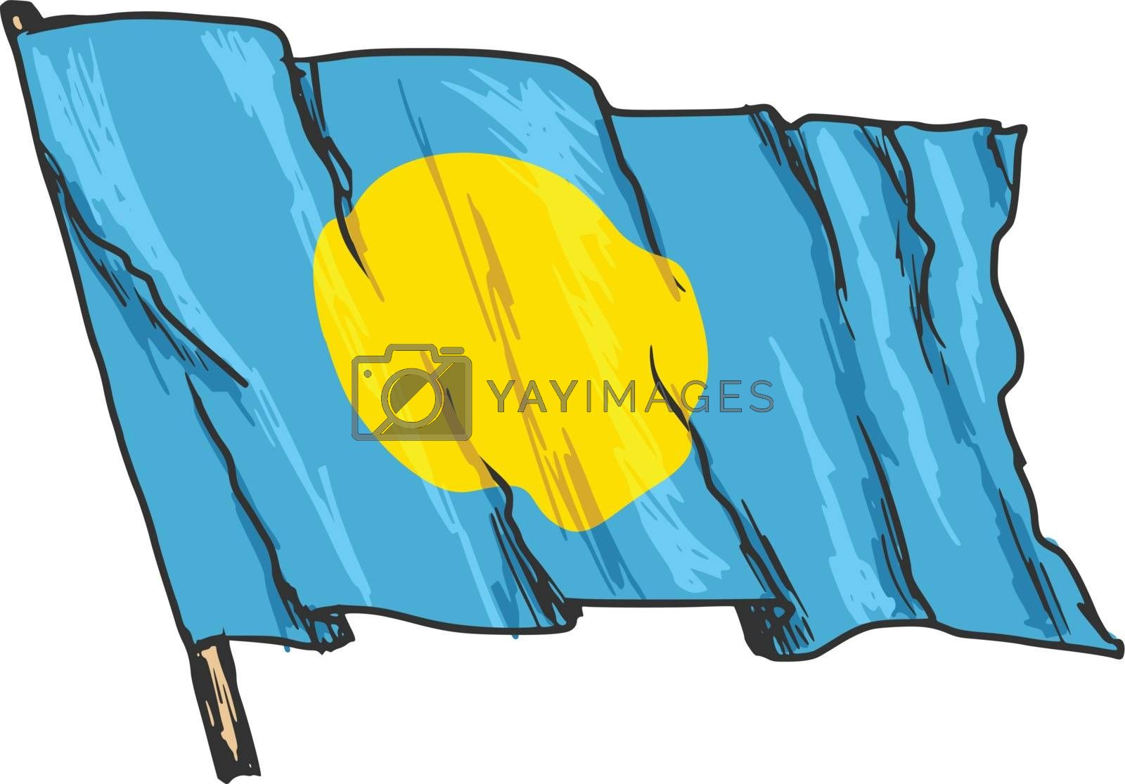 hand drawn, sketch, illustration of flag of Palau
