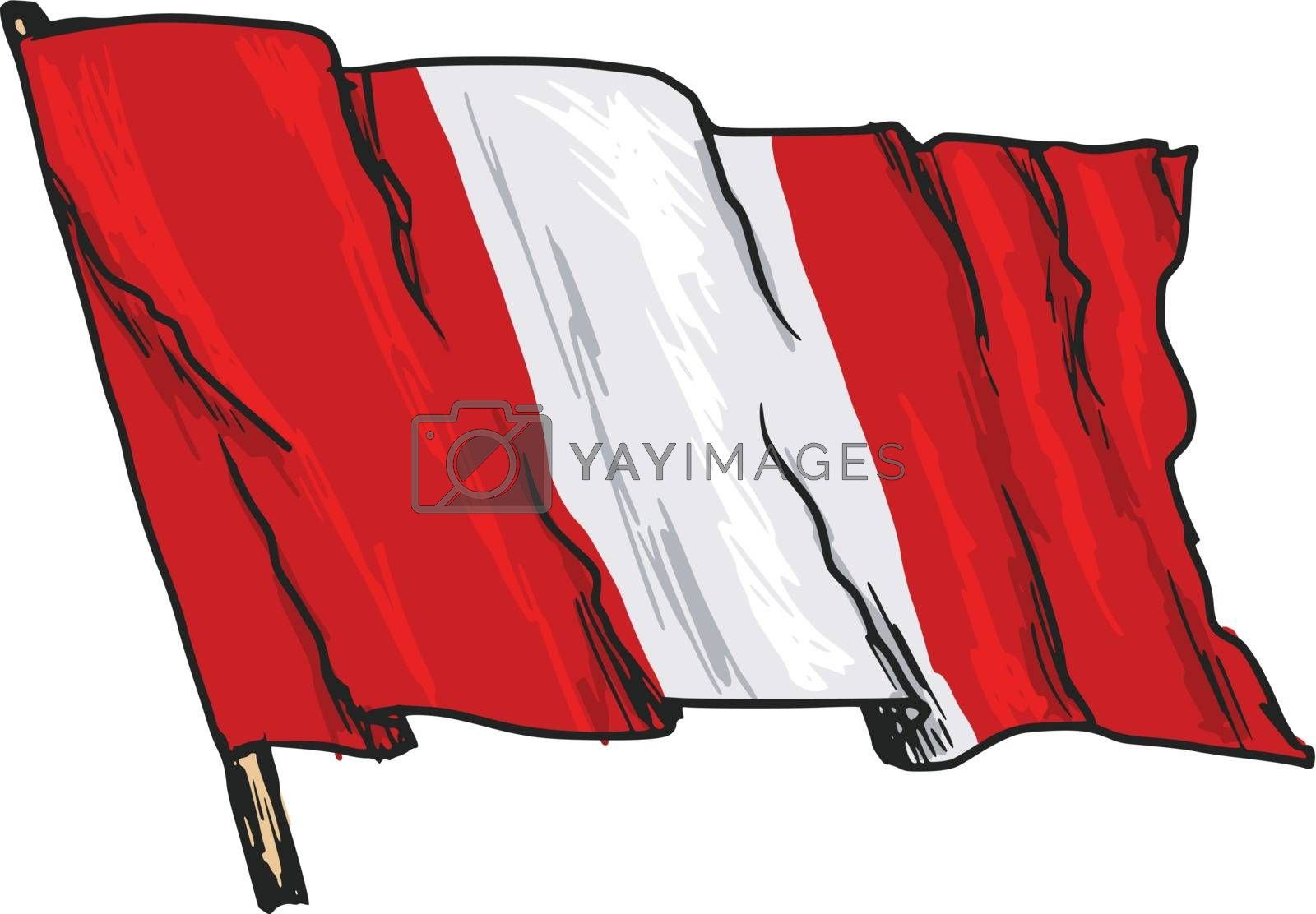 hand drawn, sketch, illustration of flag of Peru