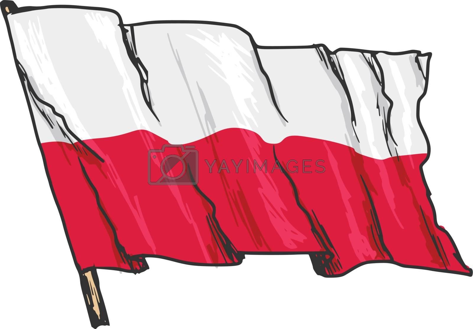 hand drawn, sketch, illustration of flag of Poland
