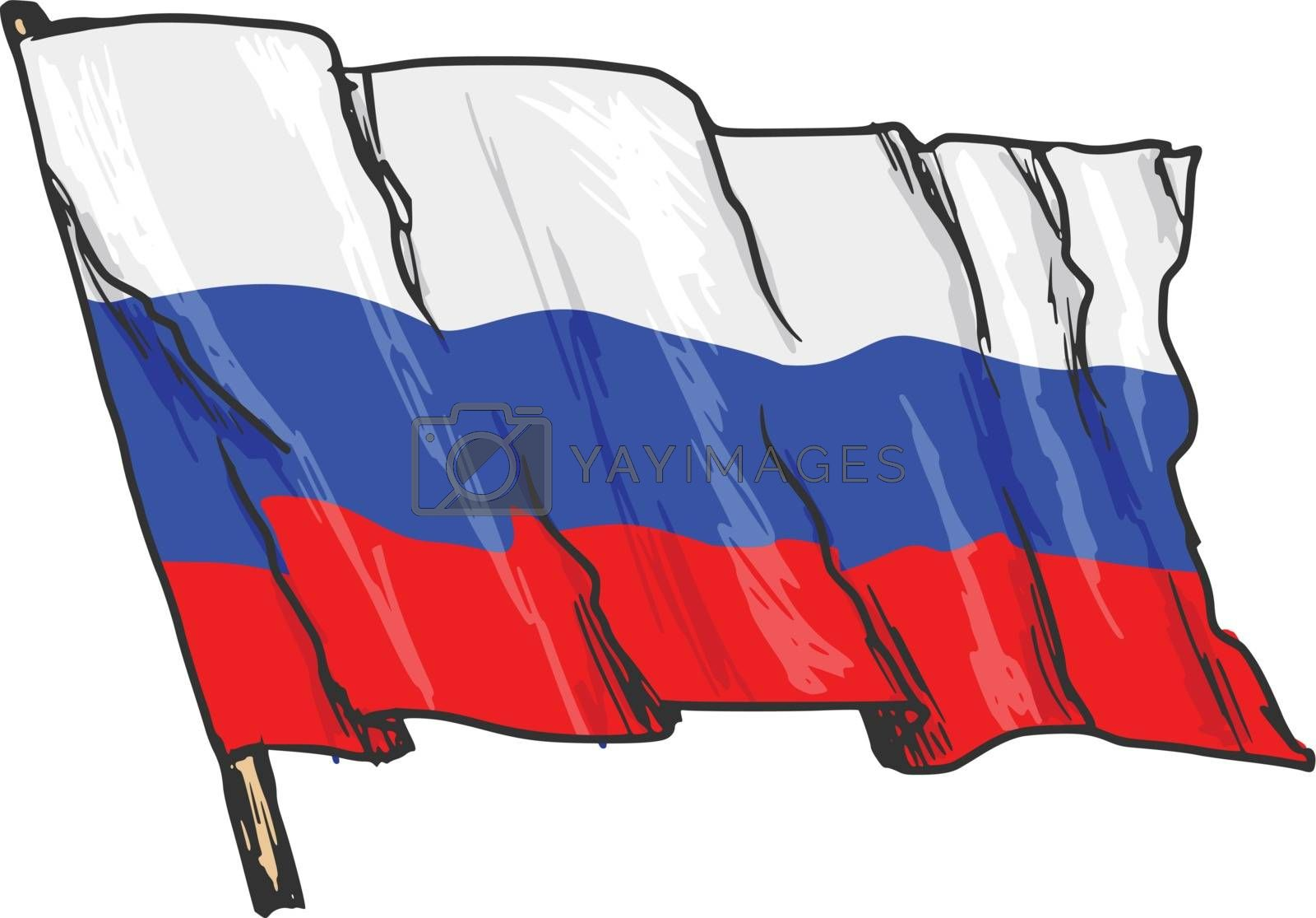 hand drawn, sketch, illustration of flag of Russia