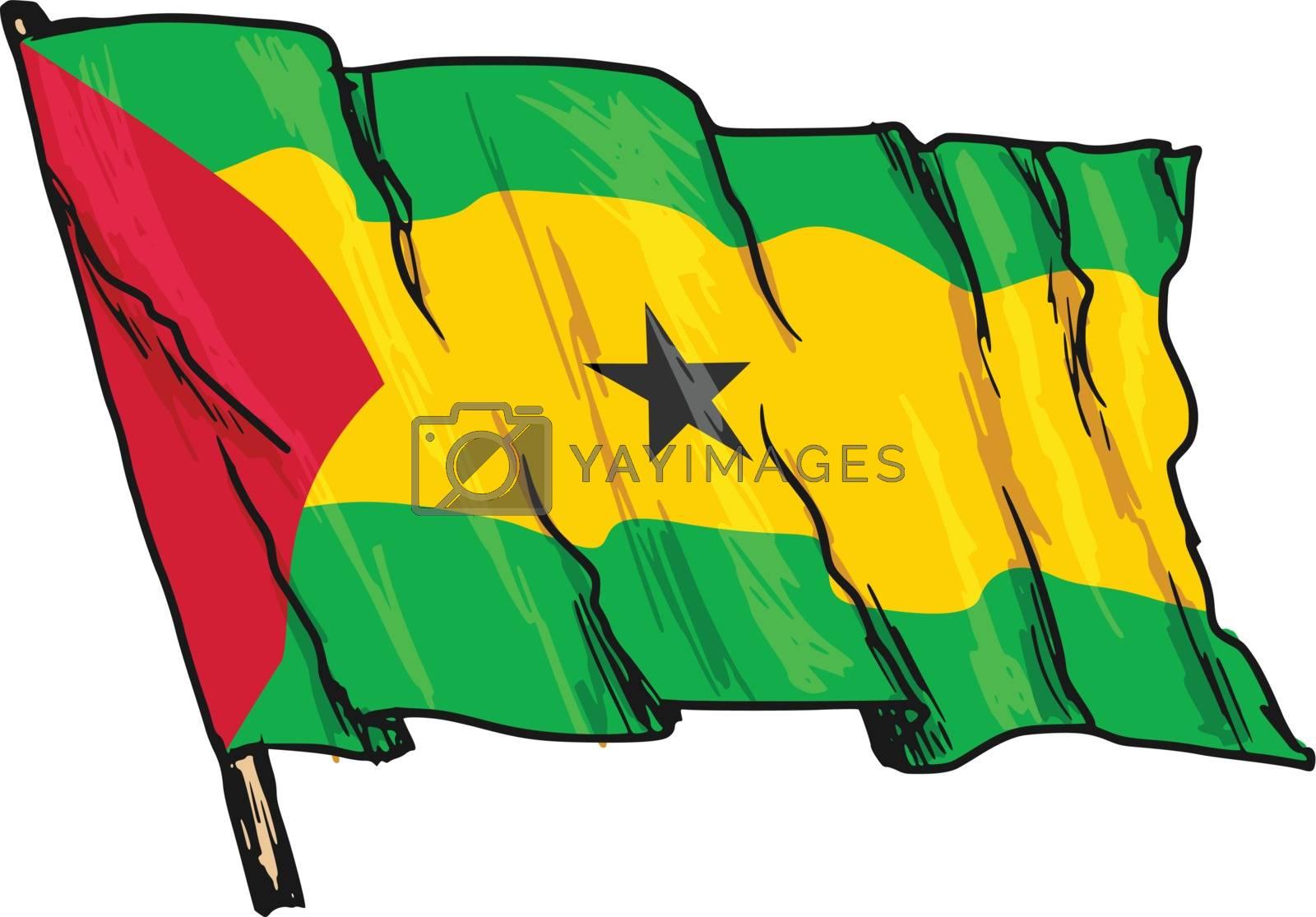 hand drawn, sketch, illustration of flag of Sao Tome and Principe