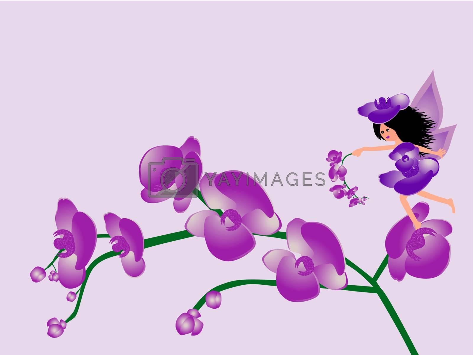 Cute little orchid fairy girl