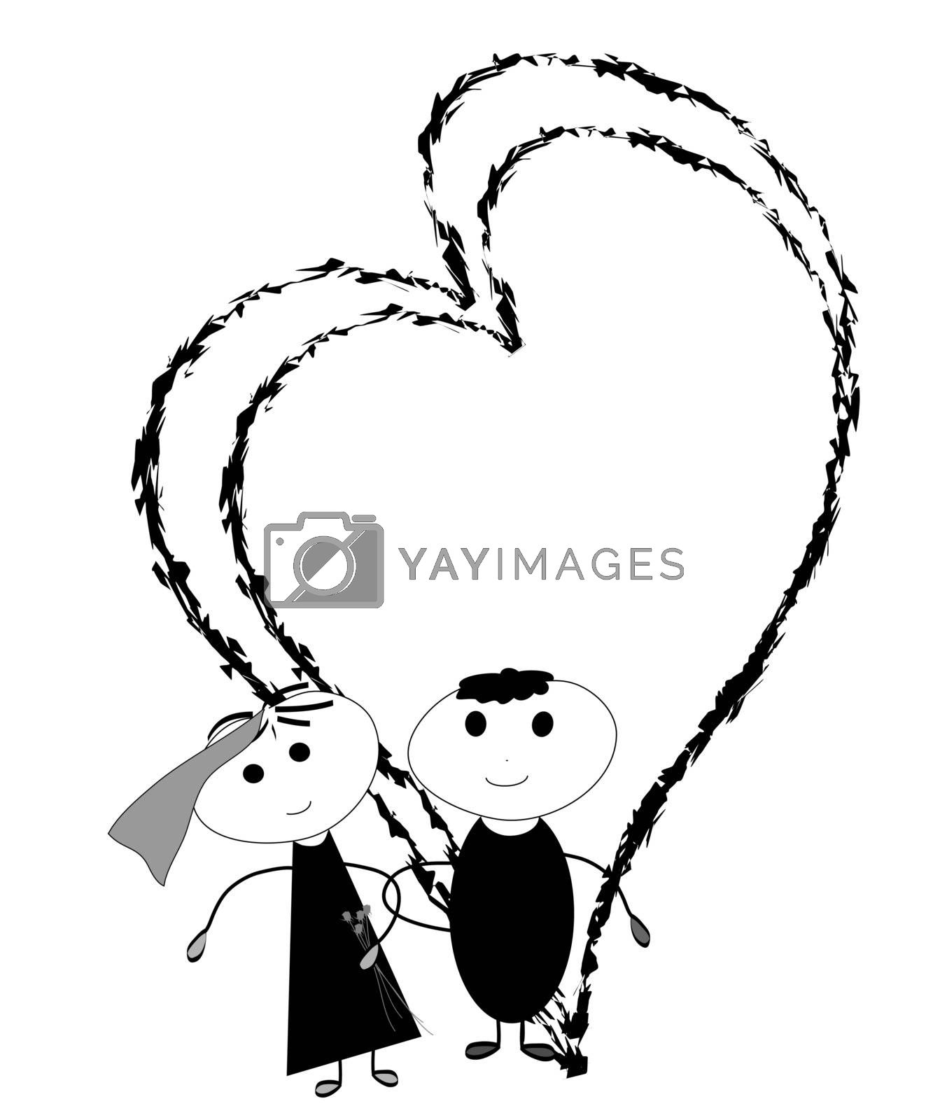 Couple in their wedding with flowers and hearts