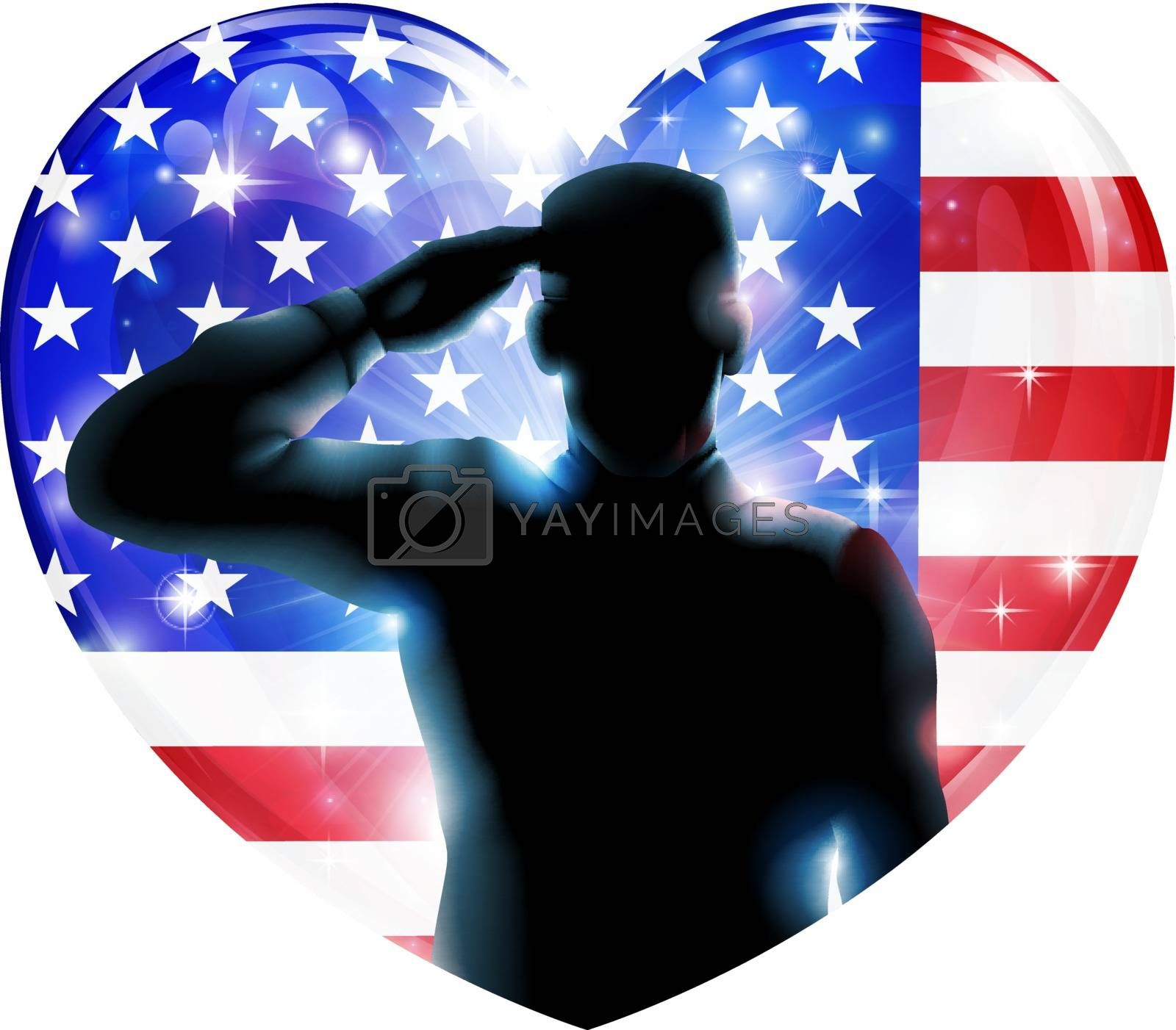 Illustration for 4th July Independence Day or veterans day of a soldier saluting in front of American flag shaped as a heart