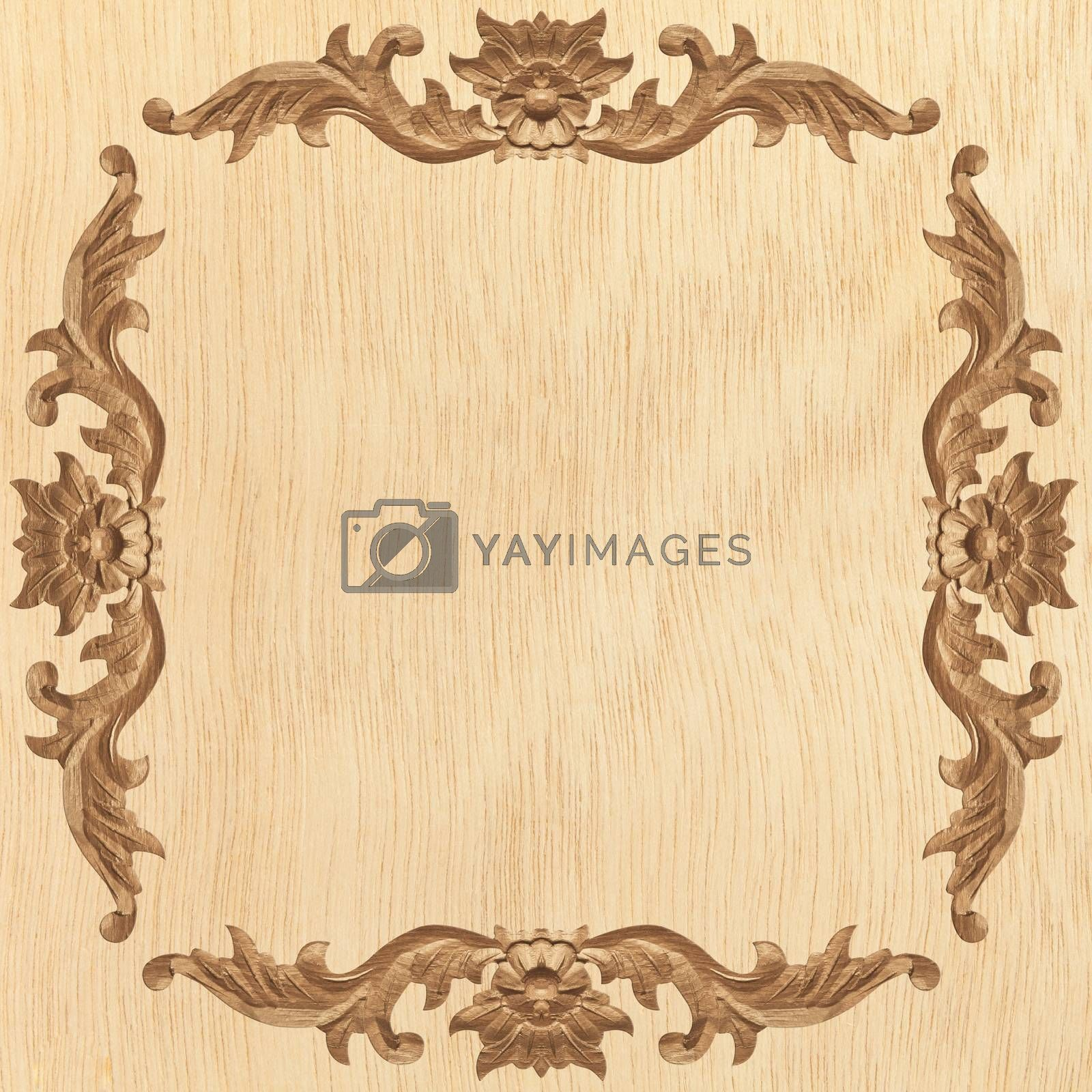 flower carved frame by witthaya