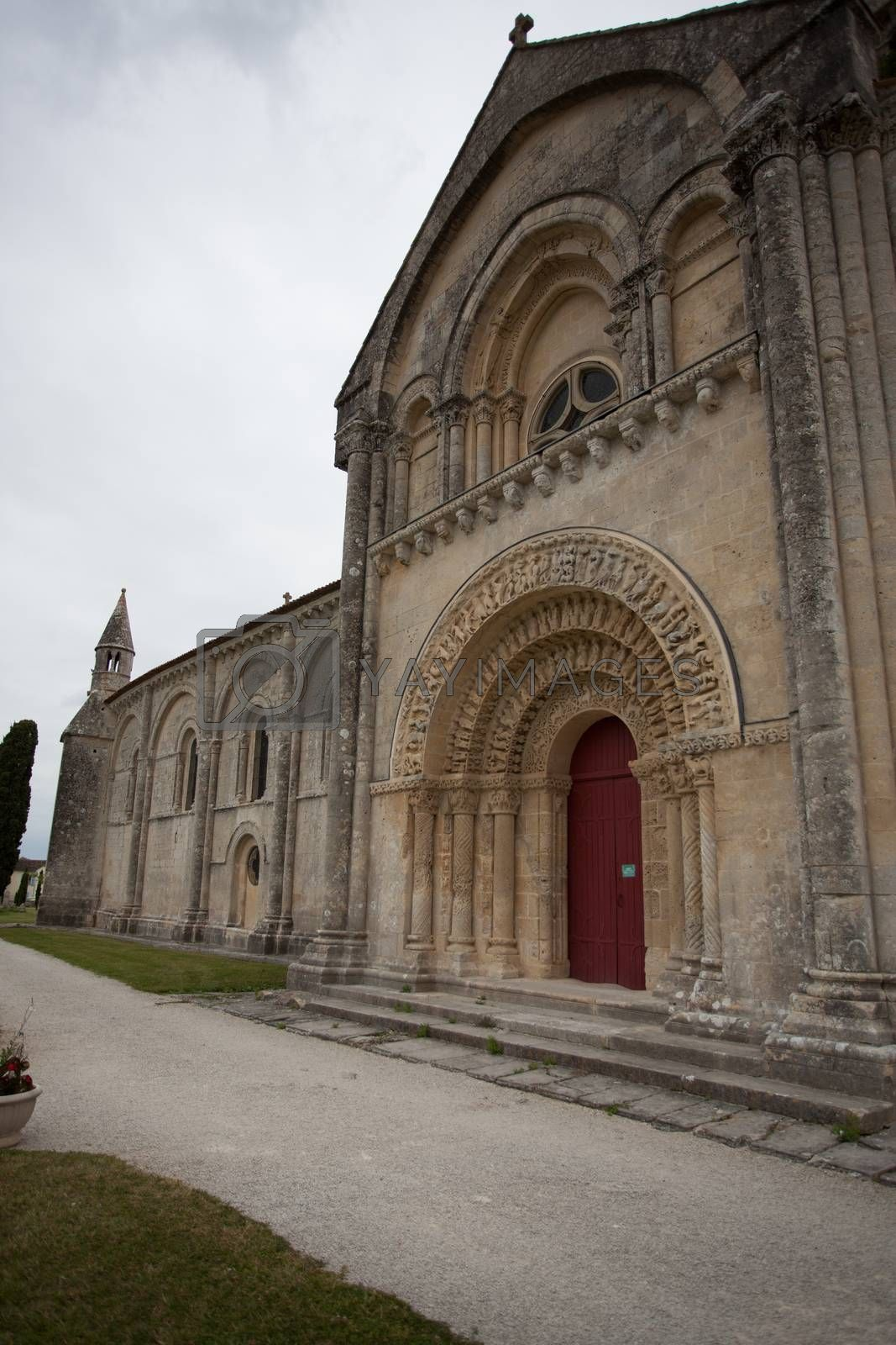 South facade view of Aulnay de Saintonge church in Charente Maritime region of France