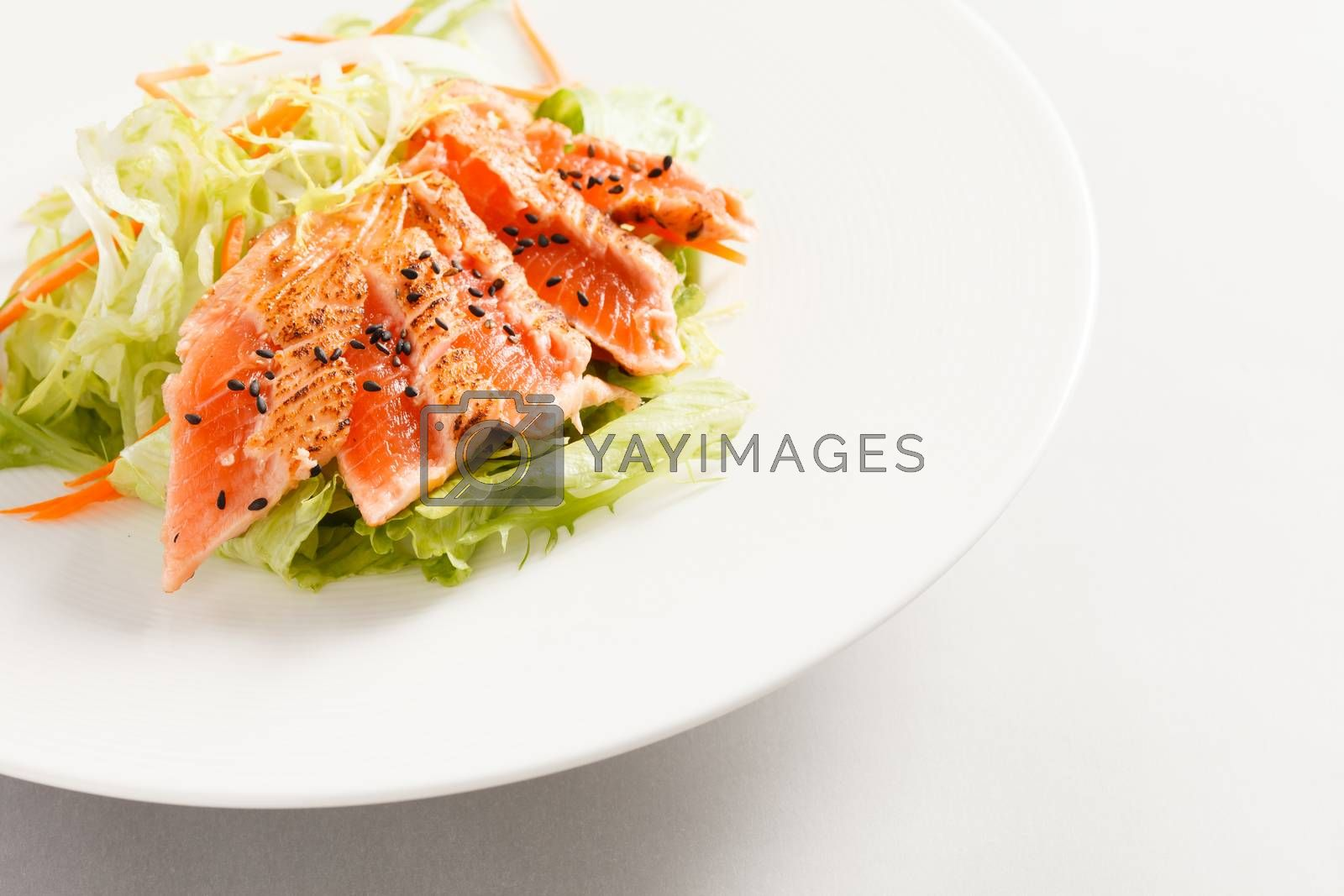 japanese salad with salmon