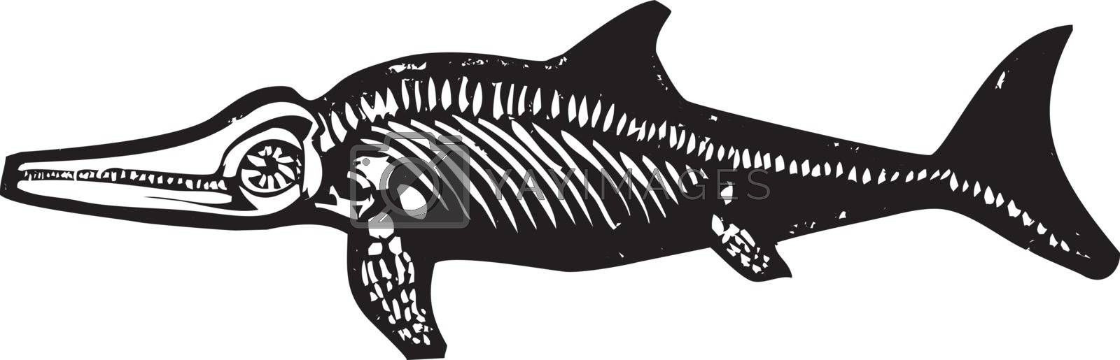 Simple rough woodcut style depictions of a Ichthyosaur Dinosaur fossil