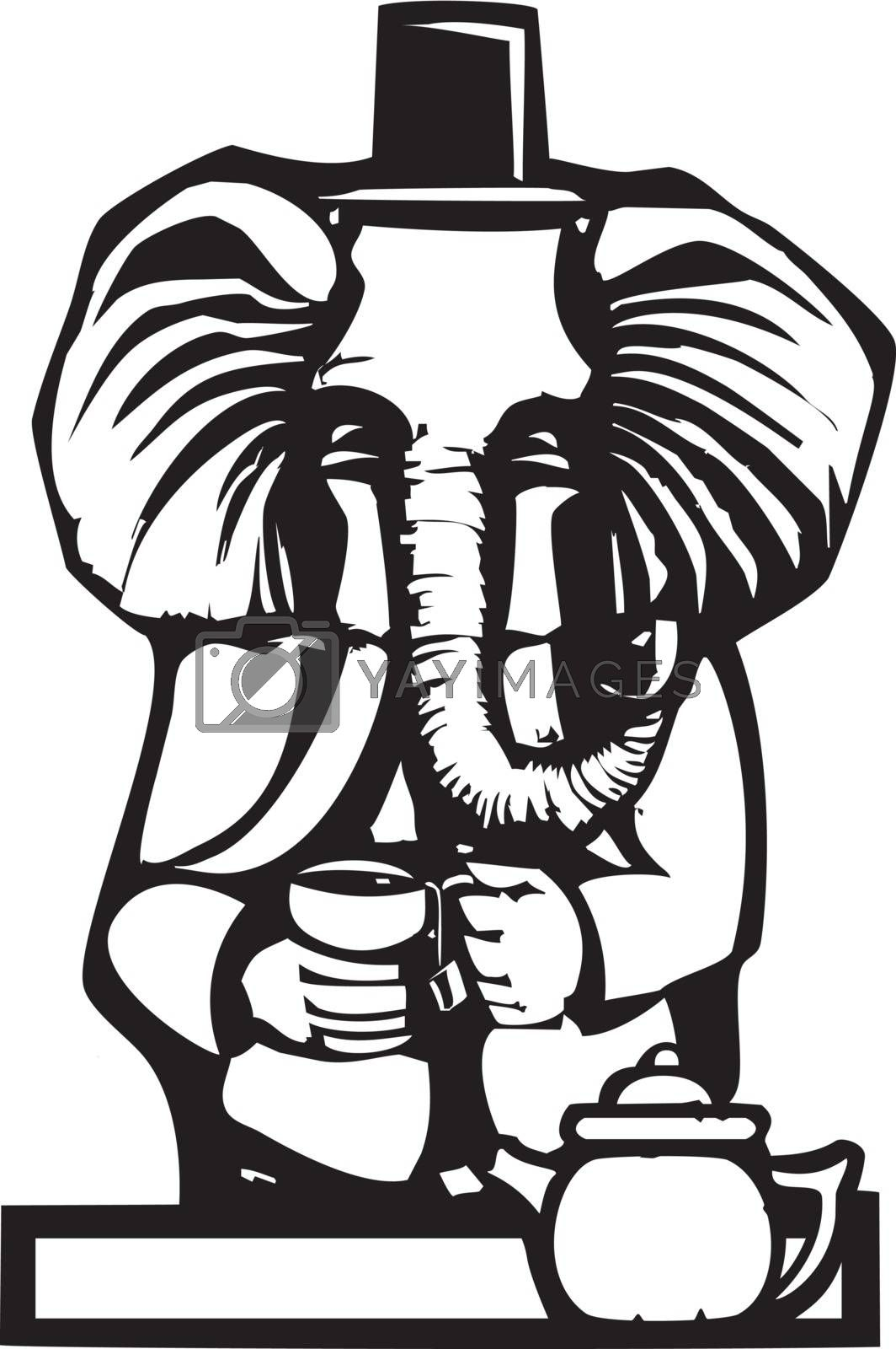 Woodcut style image of a an elephant in human clothes having tea.