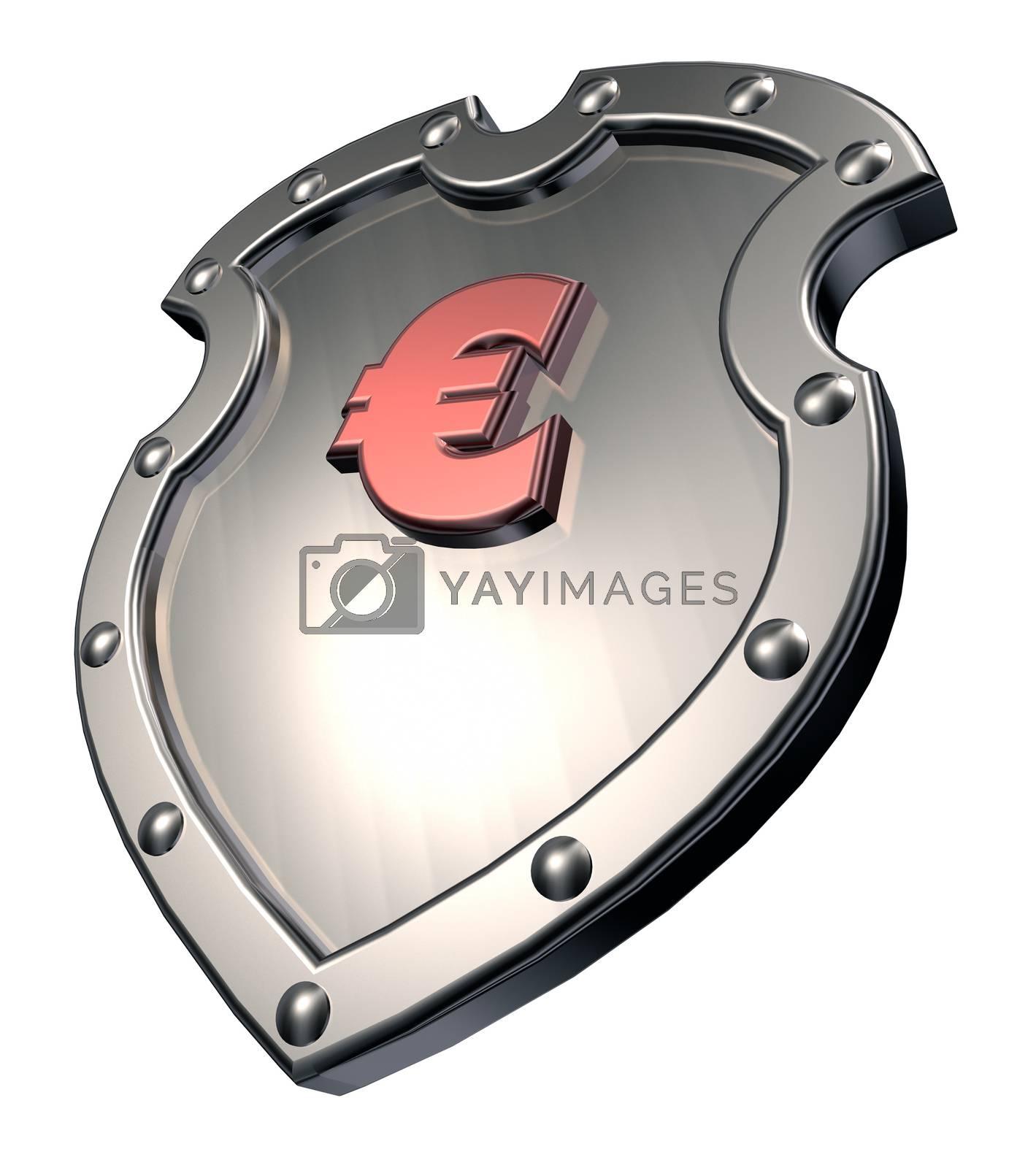 euro symbol on metal shield - 3d illustration