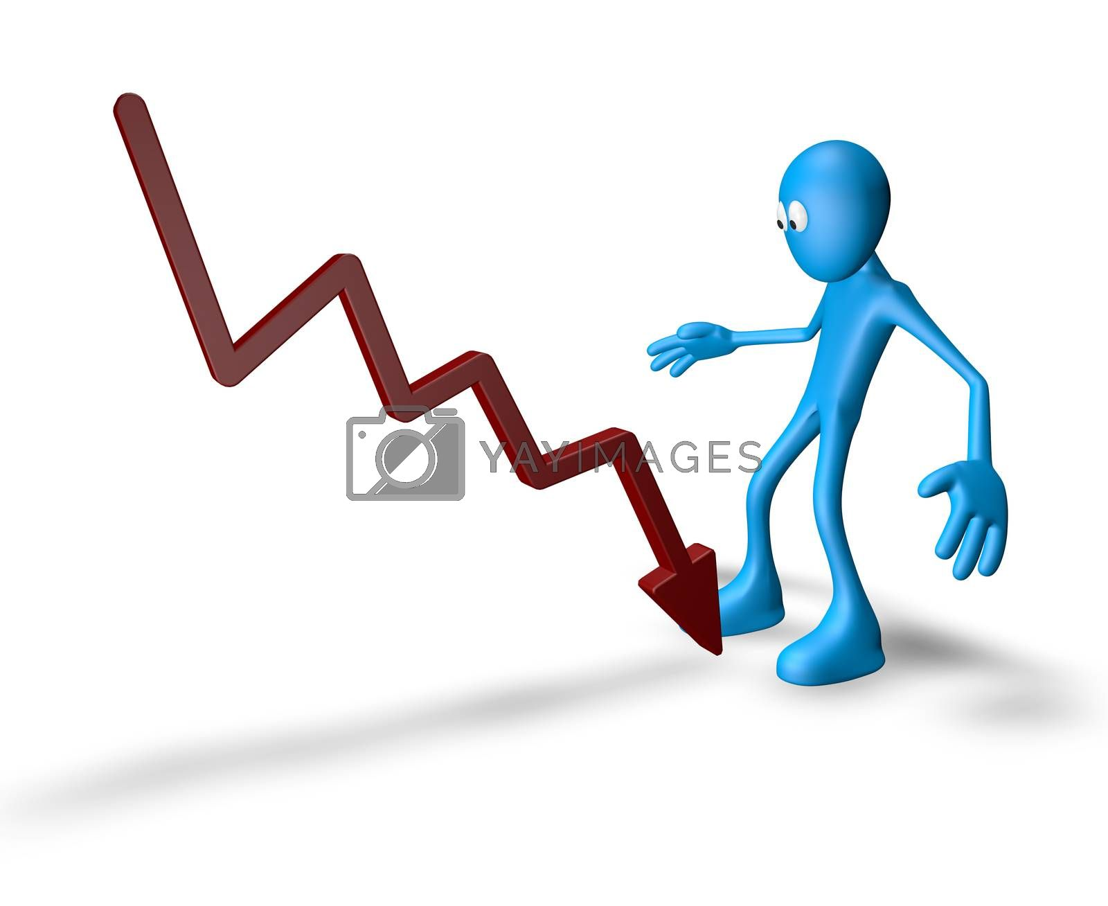cartoon guy and graph chart - 3d illustration