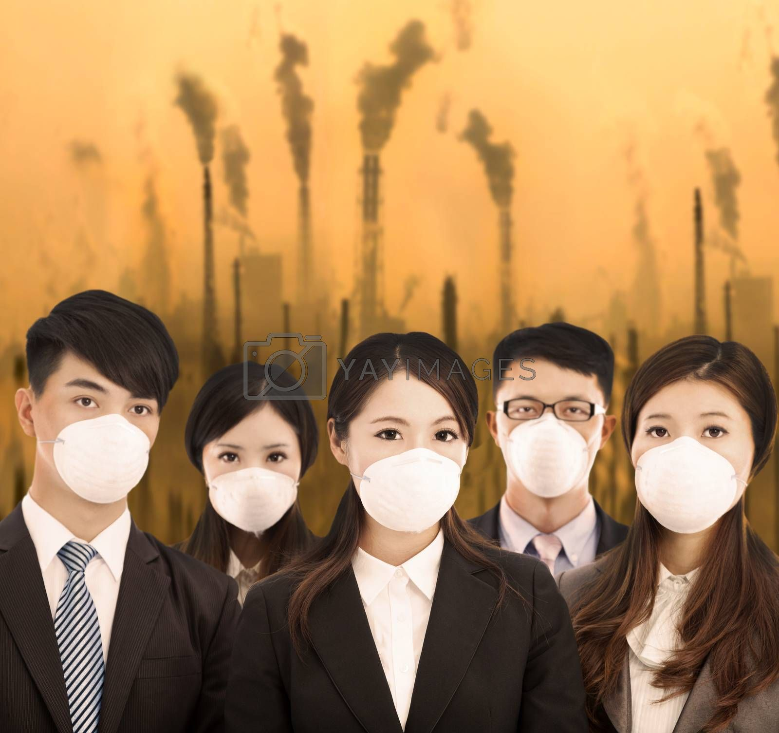 business people was wearing a mask with air pollution background by tomwang