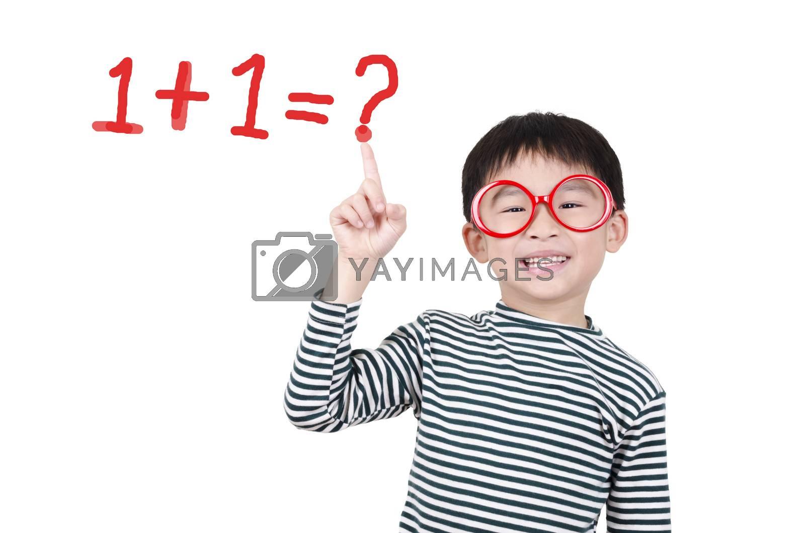 Royalty free image of Smart cute boy thinking by FrankyLiu