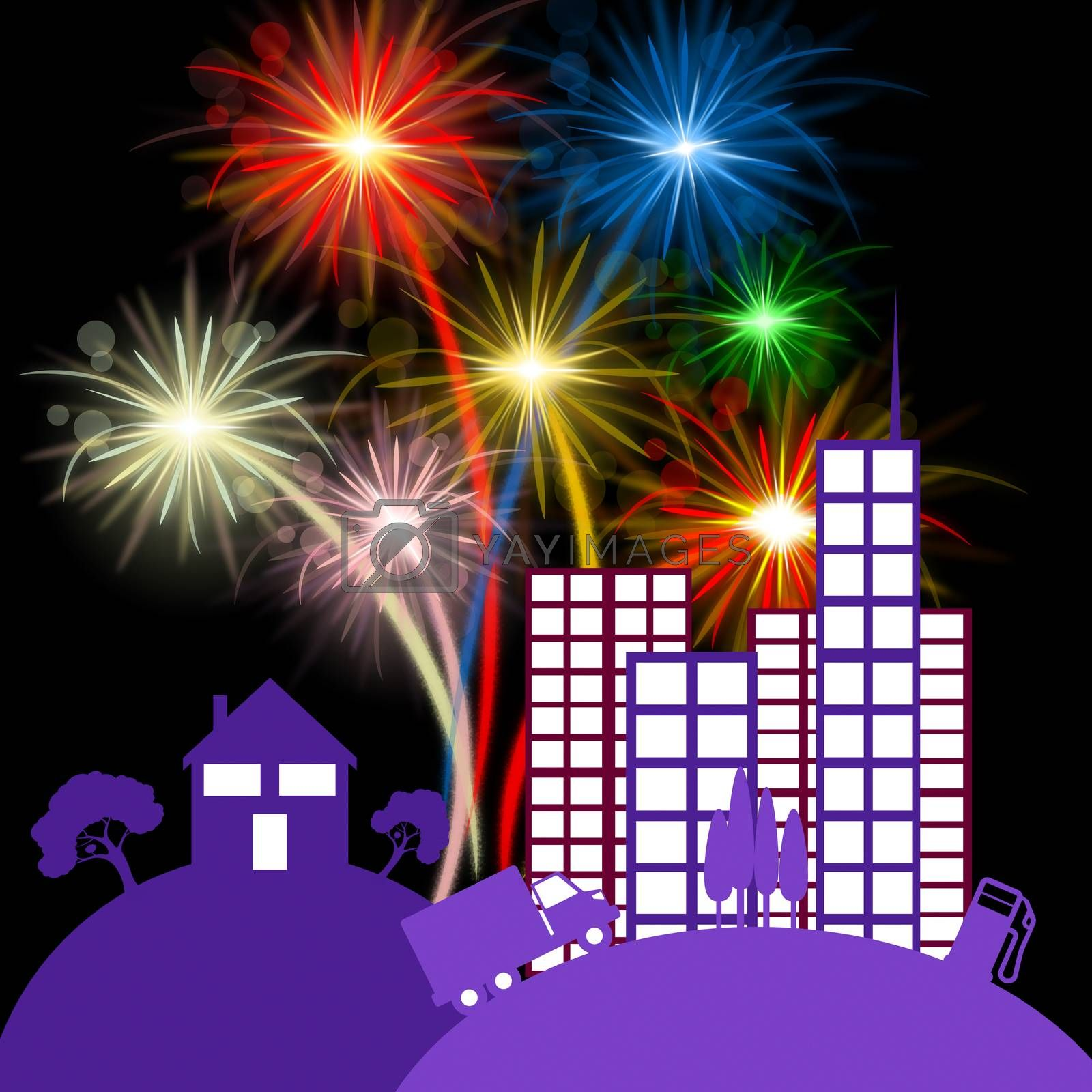 City Fireworks Indicating Night Sky And Firecracker