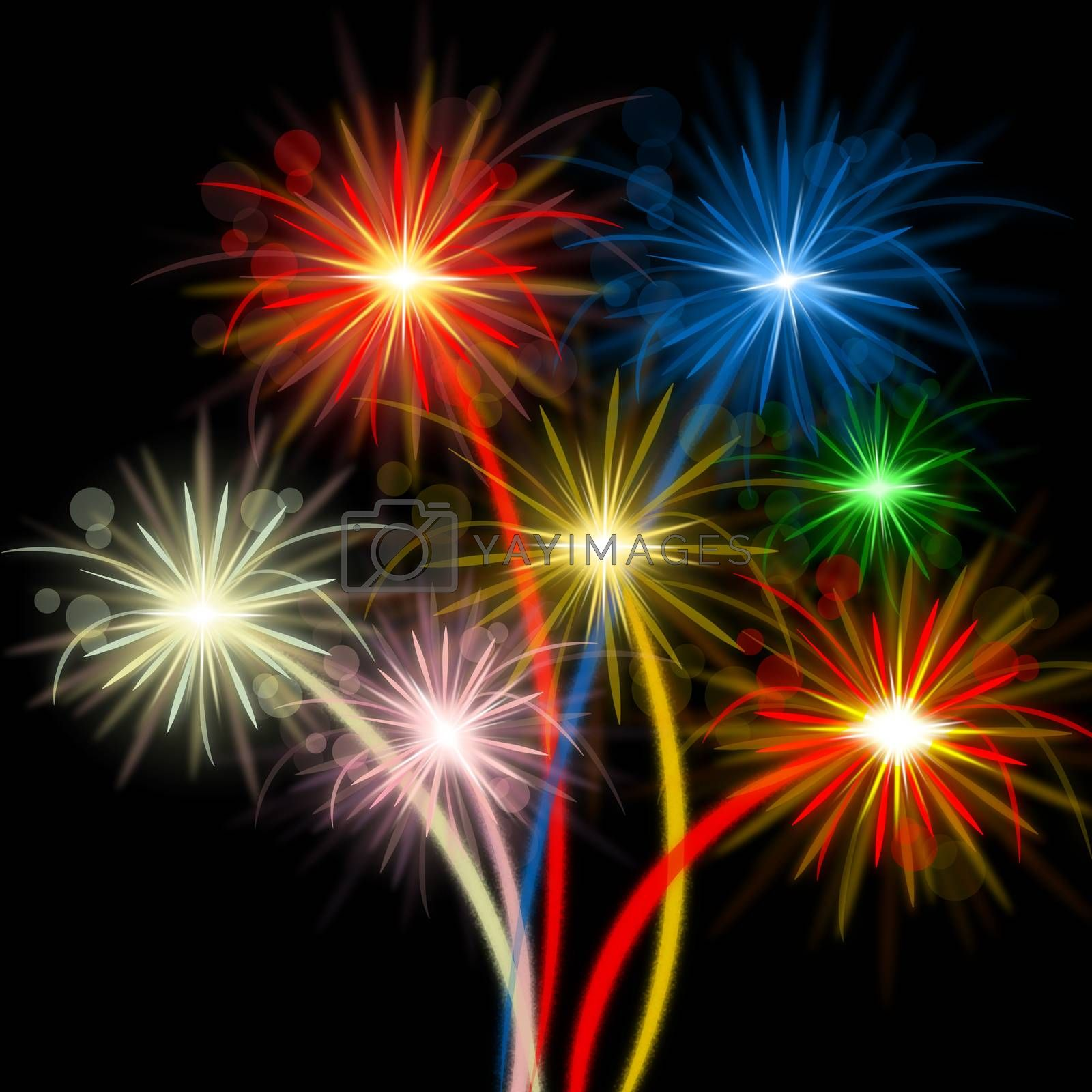 Color Fireworks Meaning Night Sky And Party