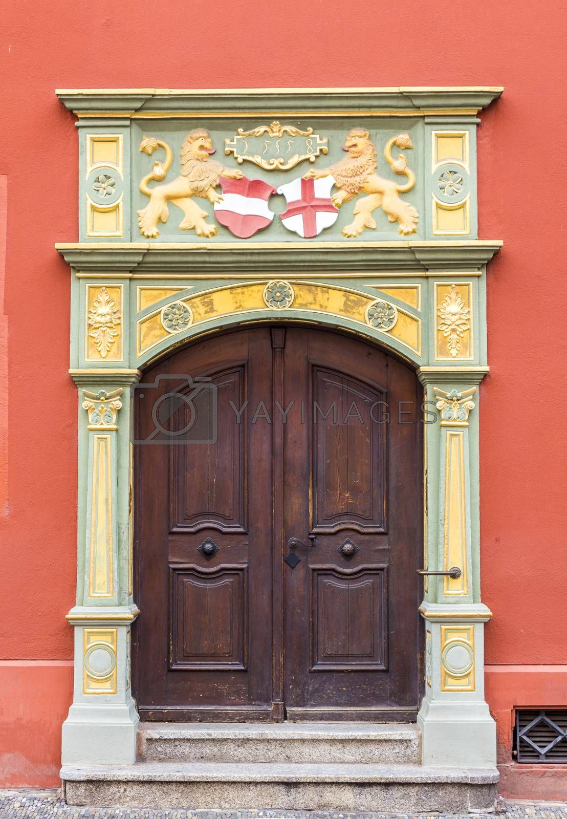 Gothic style door, Whale House, Freiburg, Germany