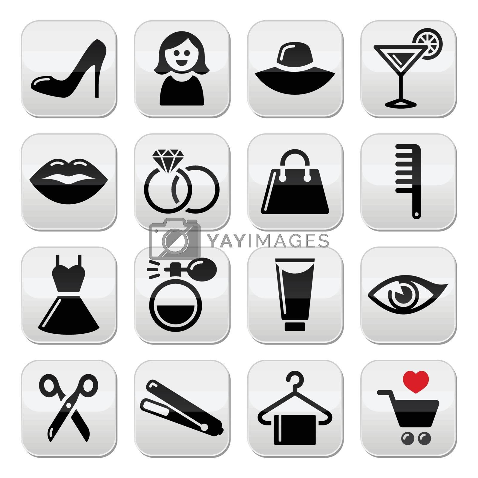 Girly black icons set isolated on white