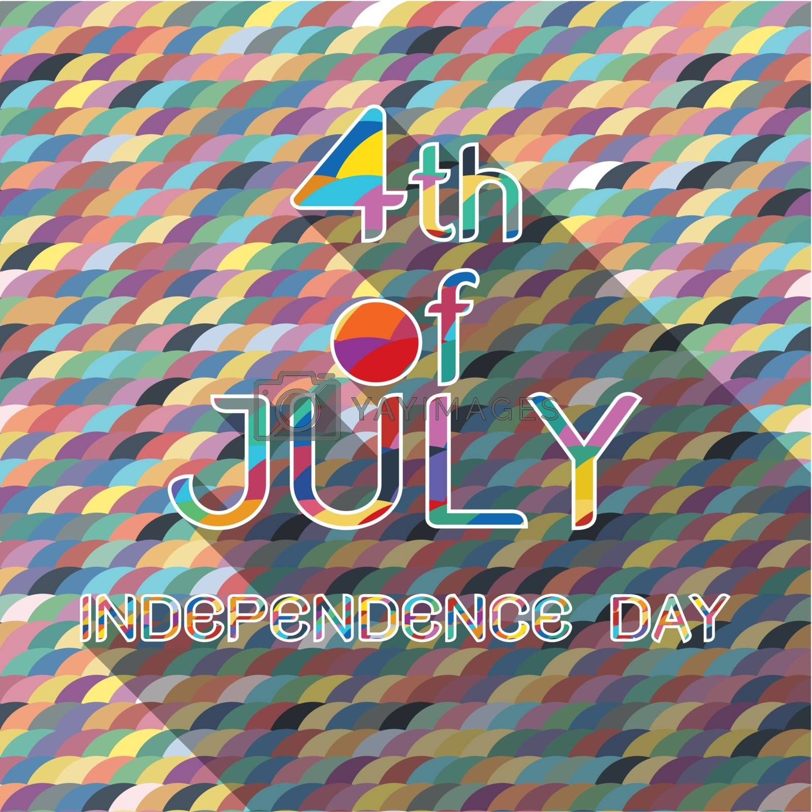 4th of july of american independence day with pattern background and shadow
