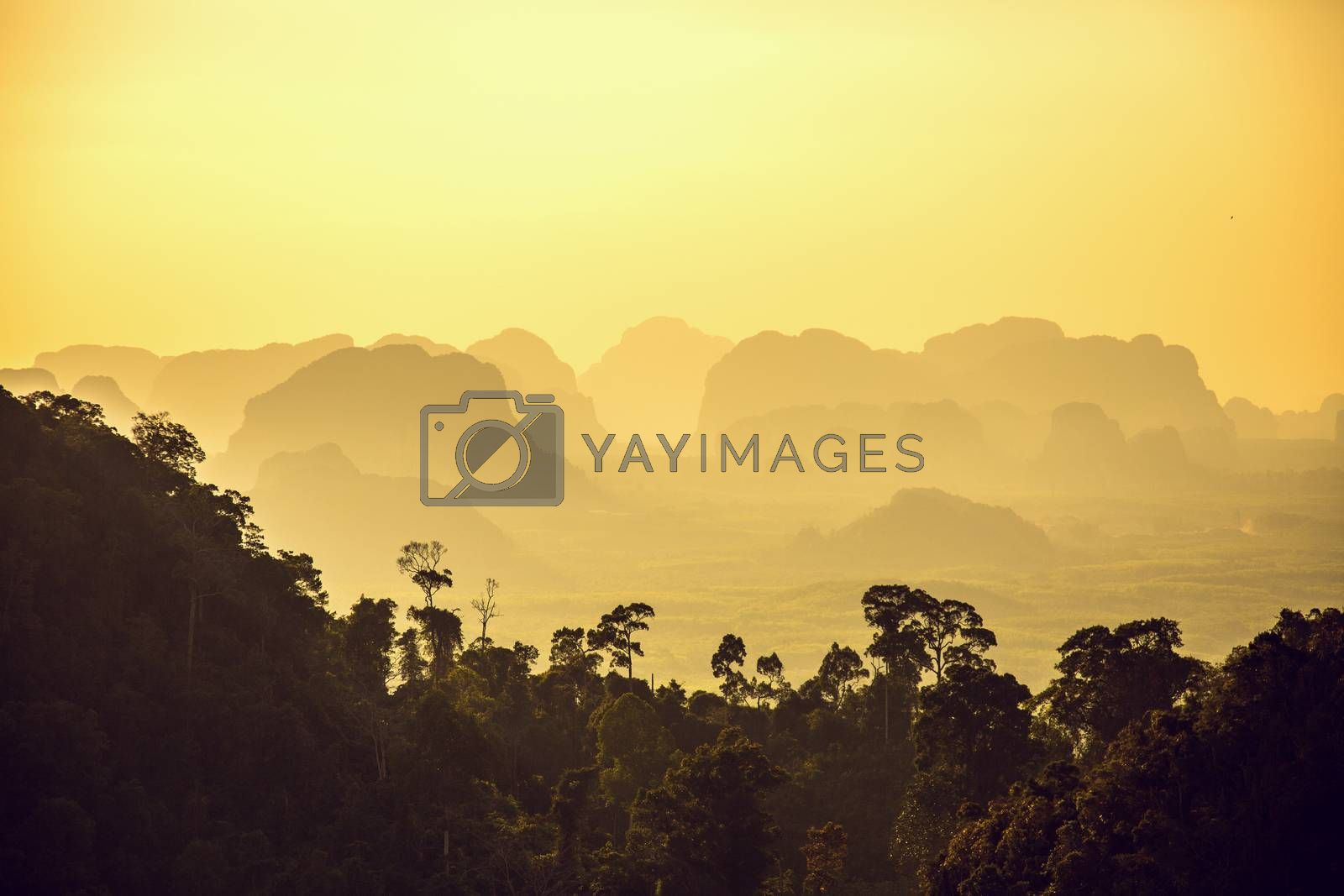 Beautiful mountains on sunset, Krabi province, Thailand