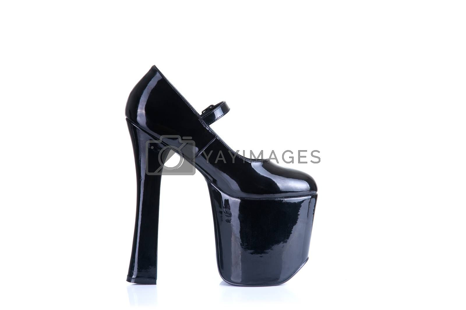 High heel fetish shoe, isolated on white background