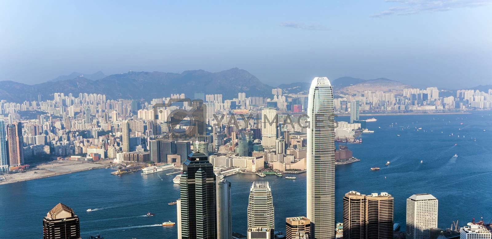 Royalty free image of hong Kong view from Victoria Peak to the skyline by meinzahn