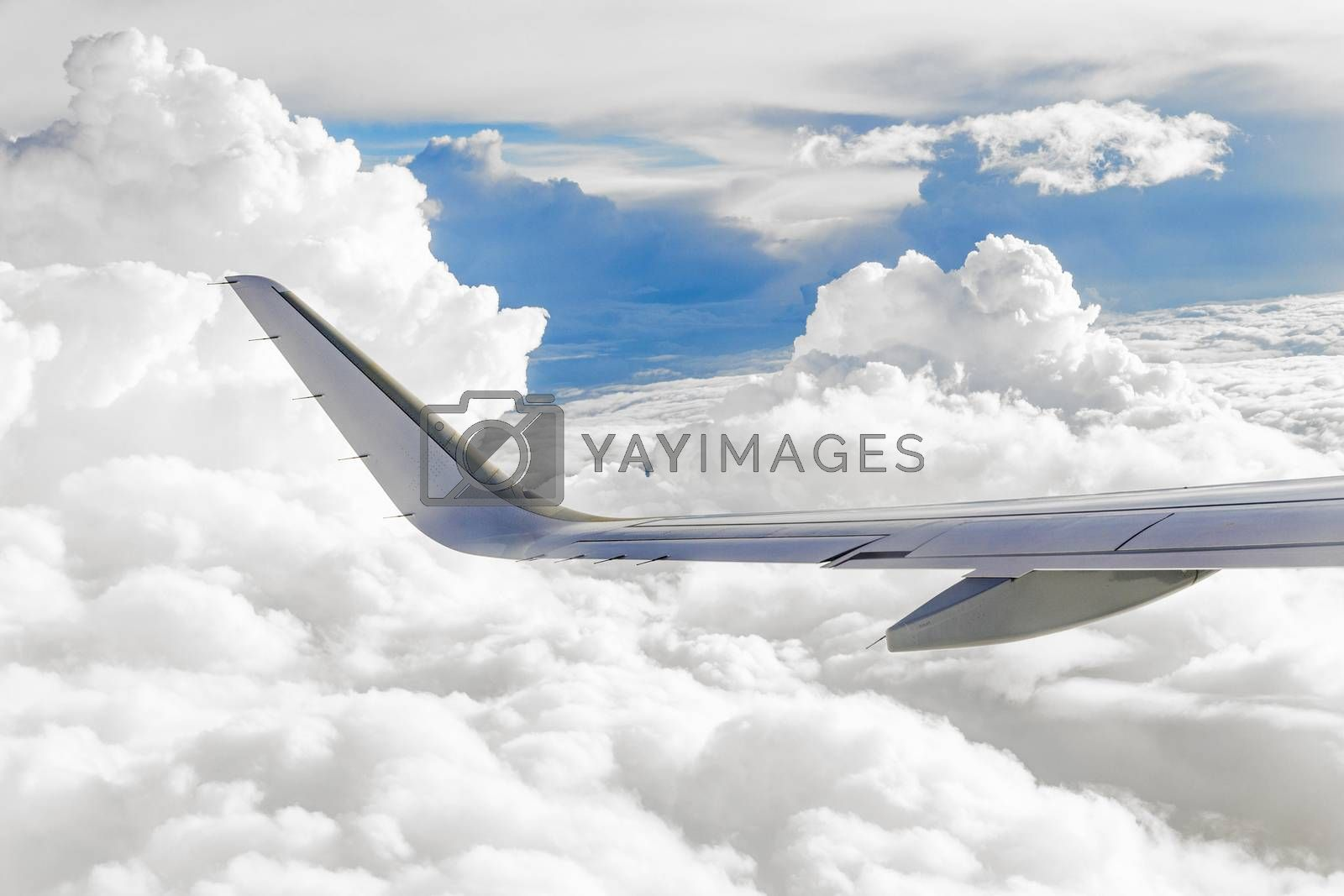 Royalty free image of Beautiful view of airplane wing  by meinzahn