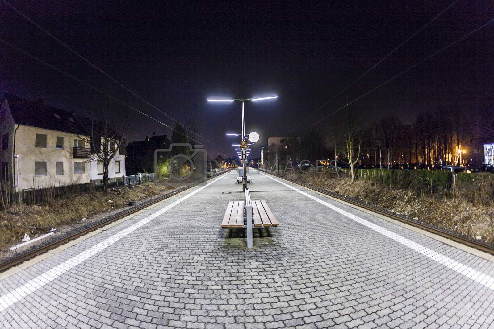 empty station early morning in the dark by meinzahn