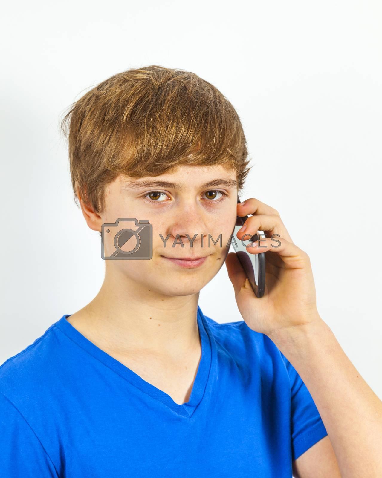 boy using a modern mobile phone
