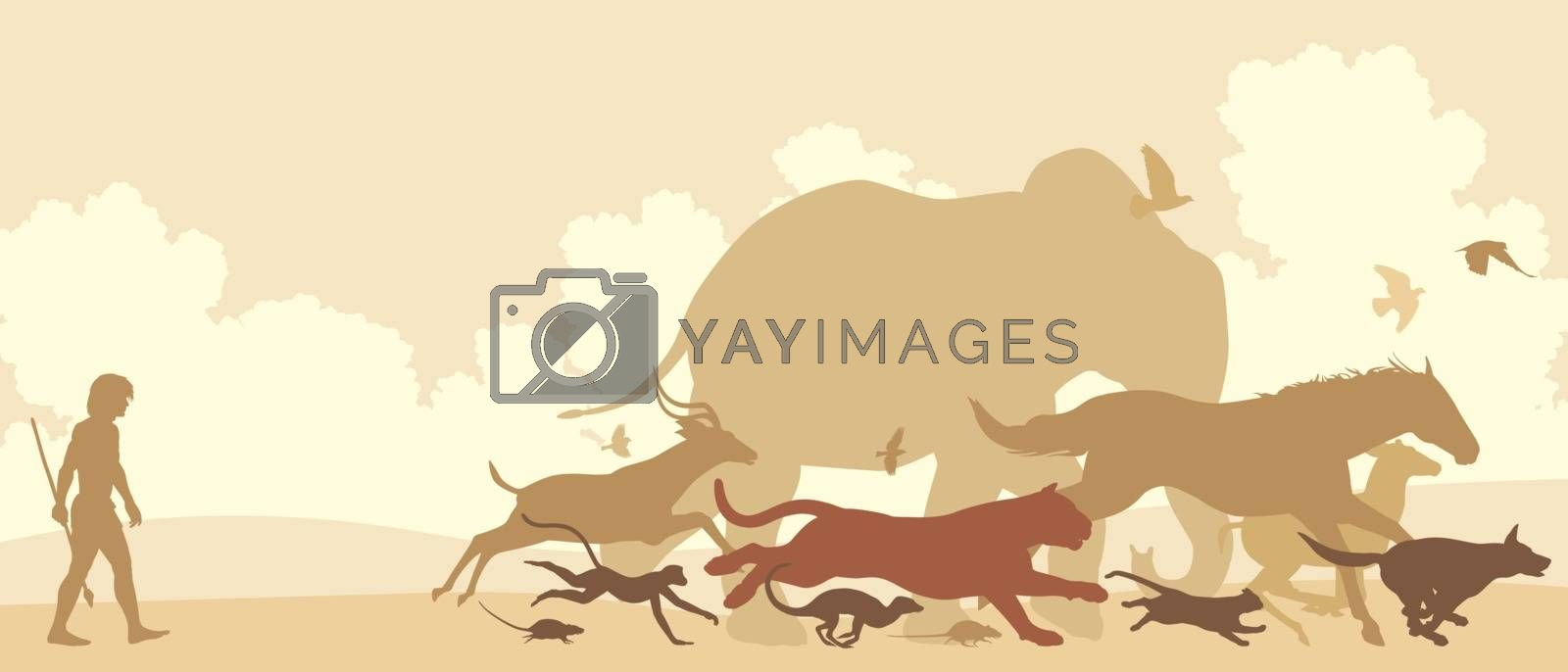 Editable vector silhouettes of diverse animals running away from an early man