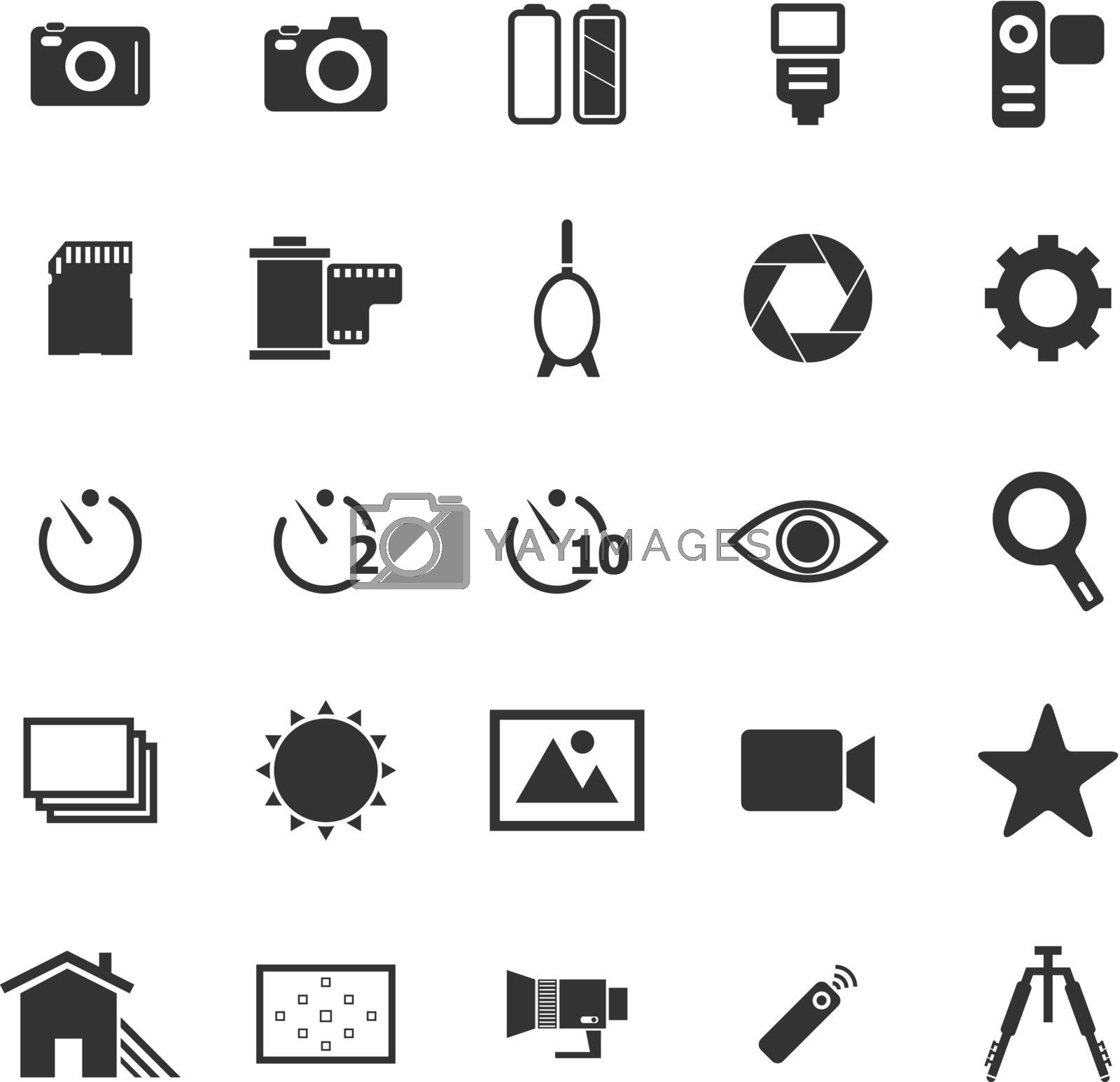 Camera icons on white background, stock vector