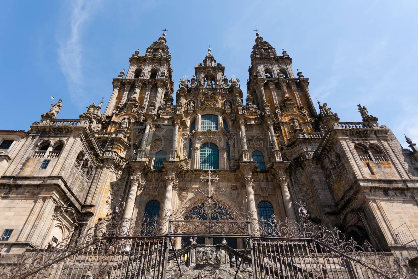 View of main entrance boroque facade of Santiago de Compostela cathedral in Spain