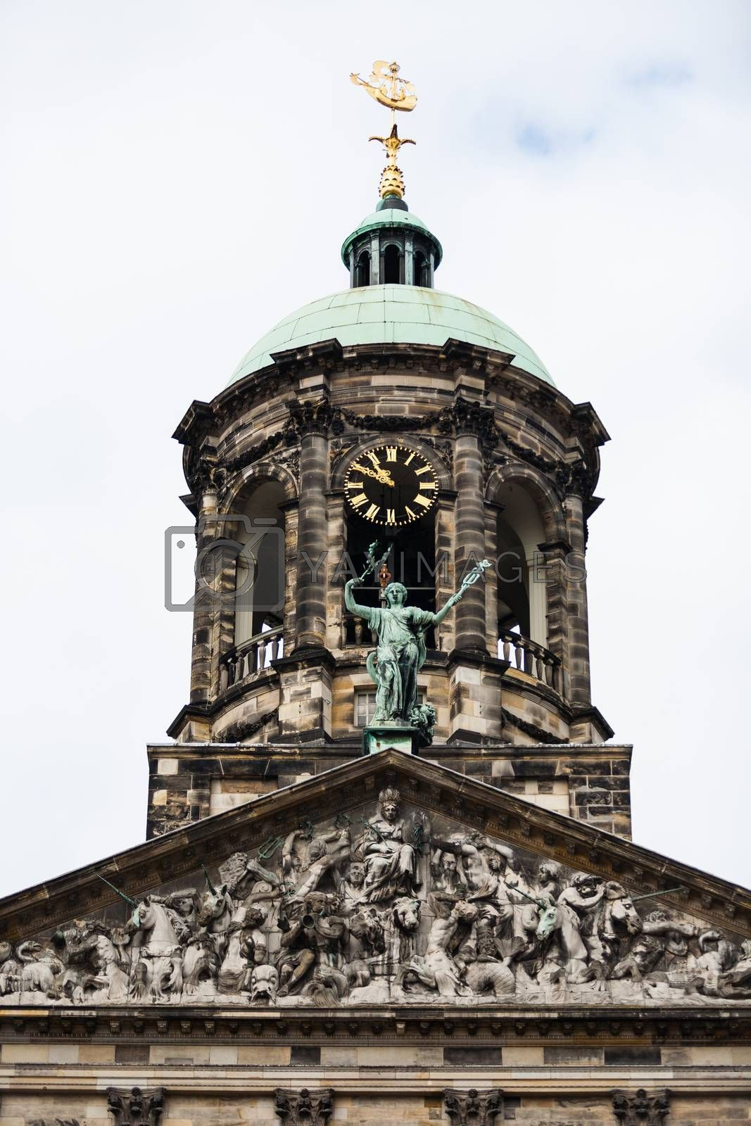 Main tower  view of the  Royal Palace of Amsterdam in Dam square