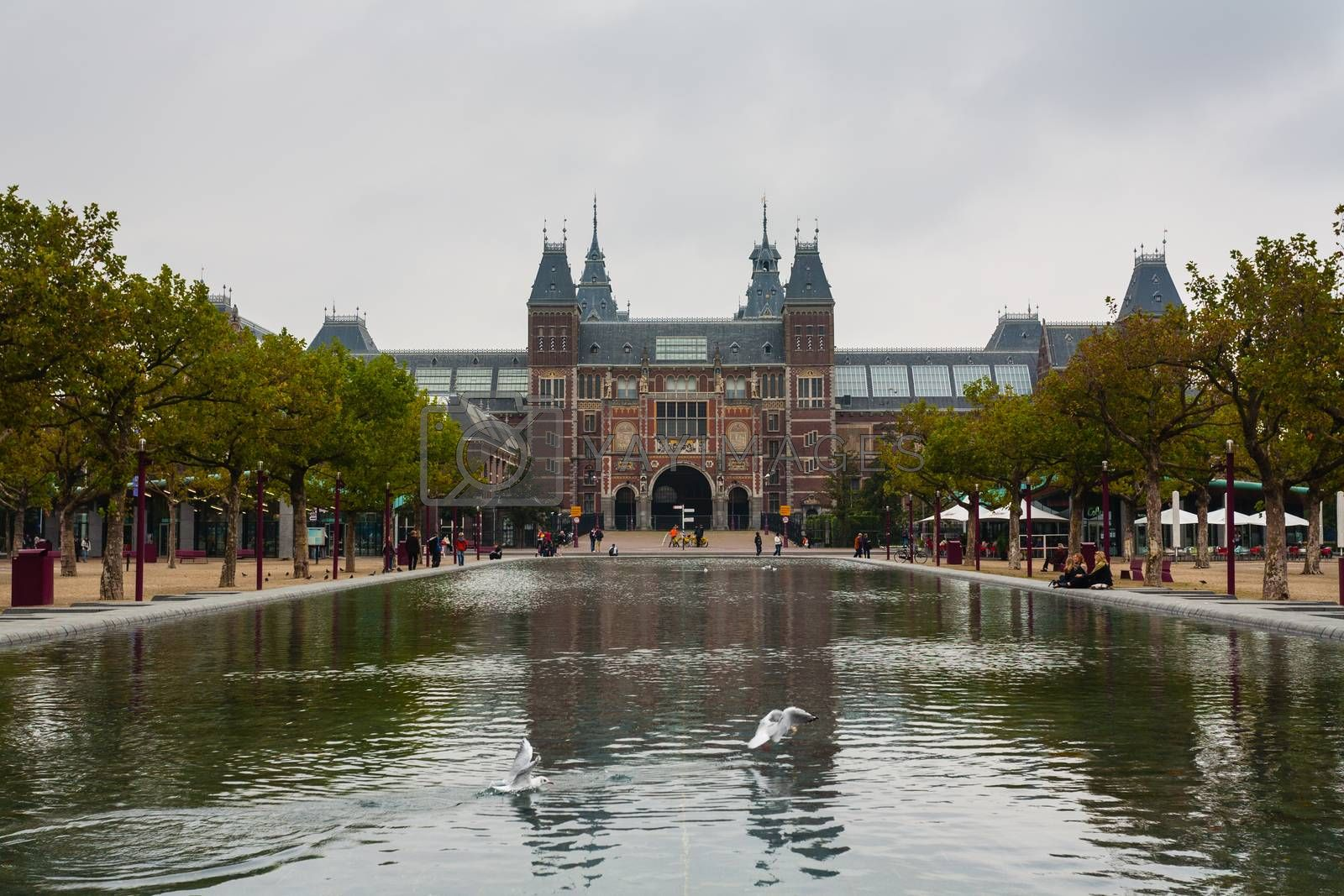 Rijksmuseum main entrance with pond in the forefront ,Amsterdam ,Holland