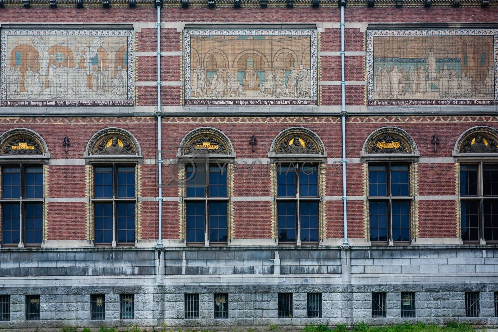 Rijksmuseum lateral view of the building,Amsterdam ,Holland
