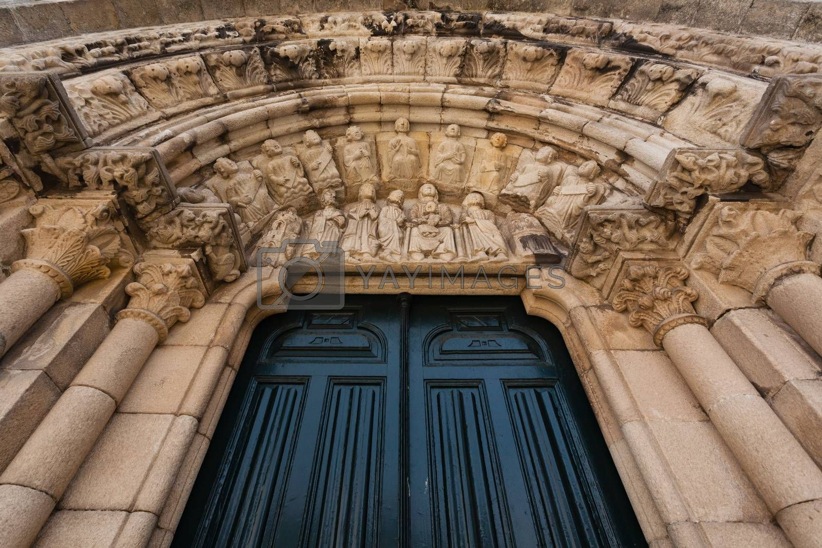 Archivolts view of sSantiago church in La Coru��a Spain