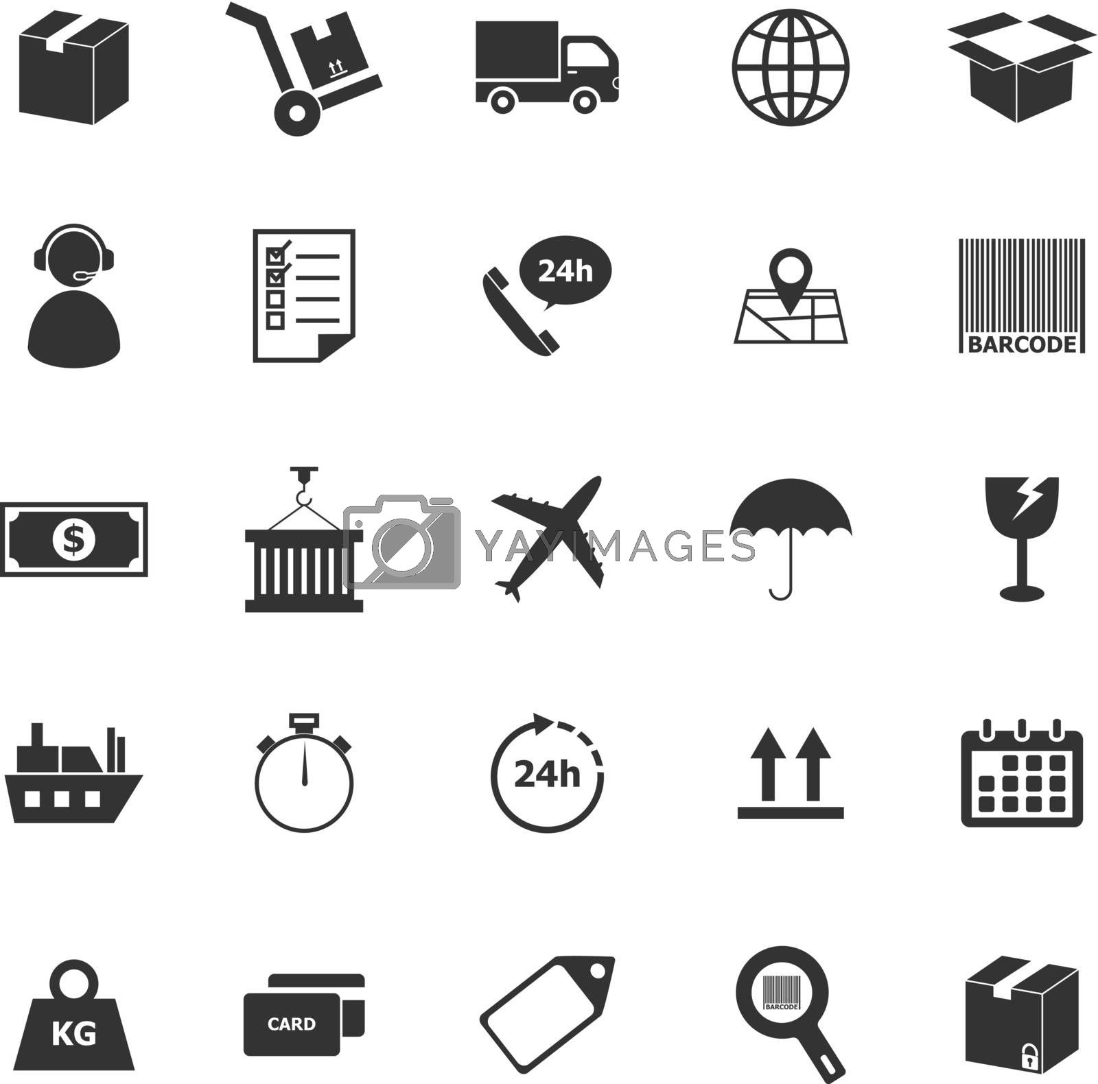 Logistics icons on white background, stock vector