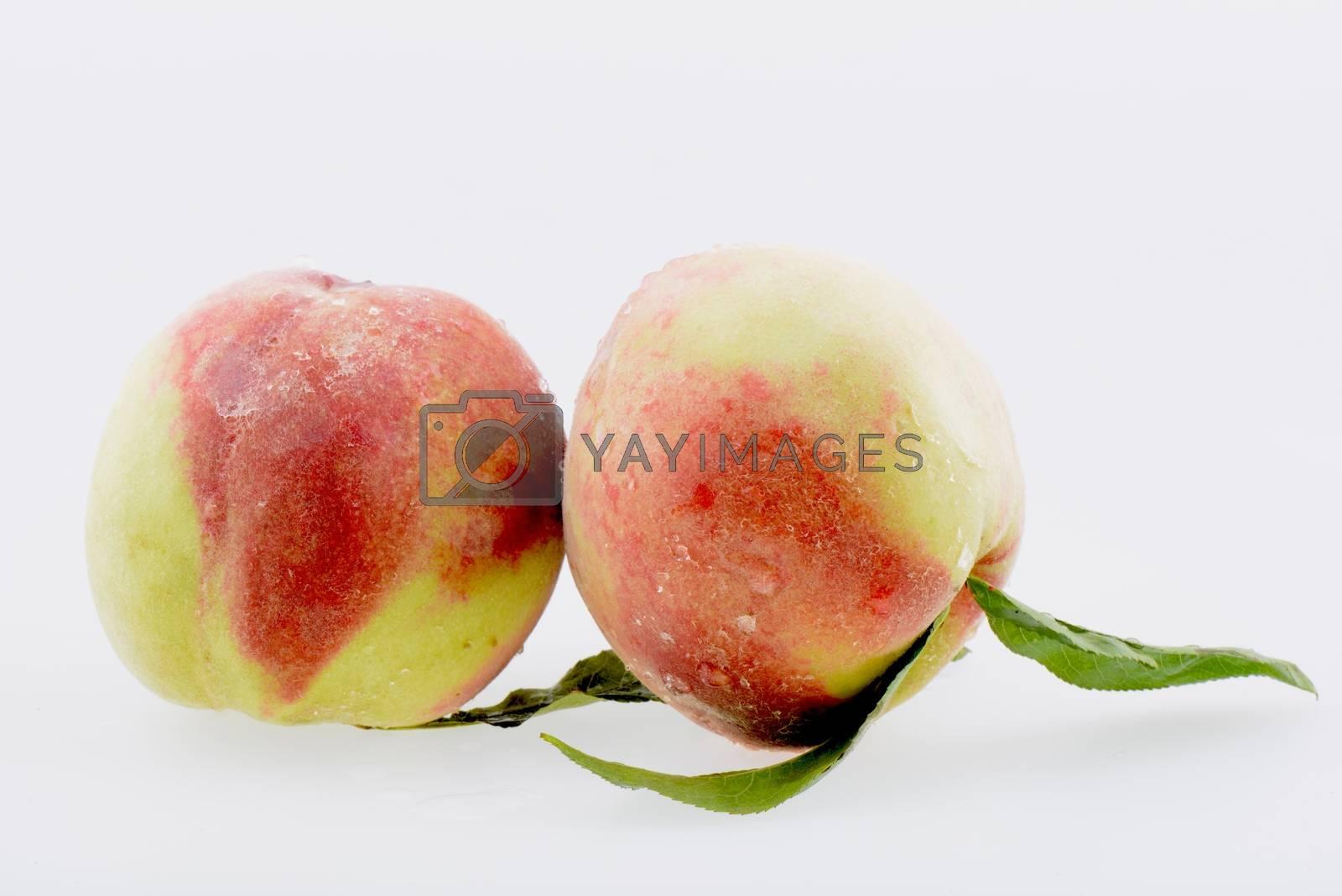 Fresh peach fruits on a white background