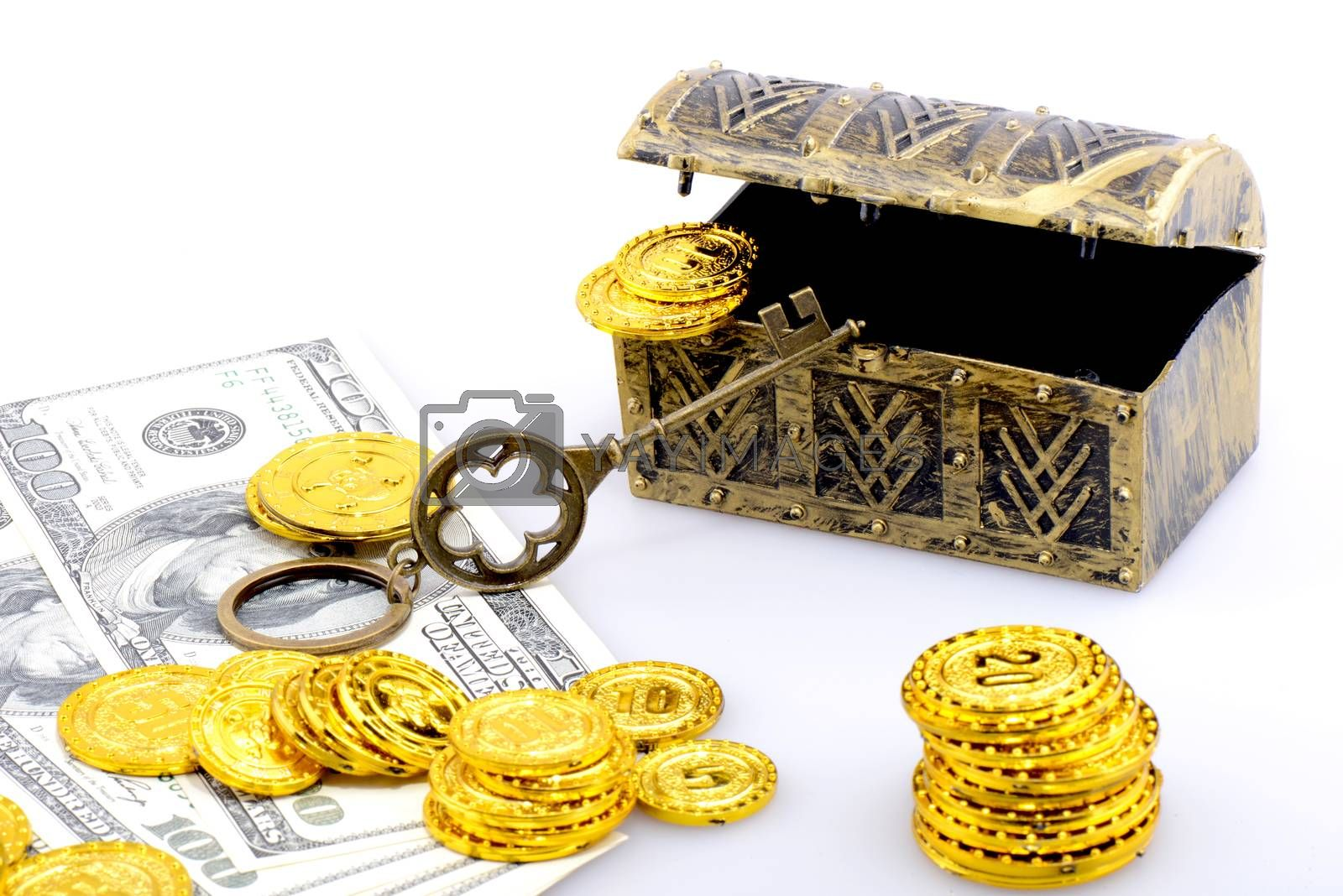 Copper box with gold coins and dollar banknotes