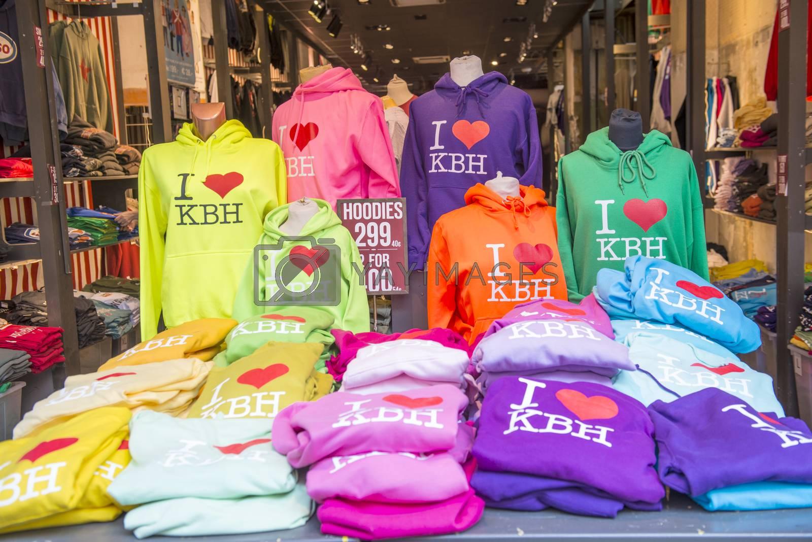Copenhagen, Denmark-February 18, 2012; Multi-colored t-shirts in gift shop in Copenhagenю