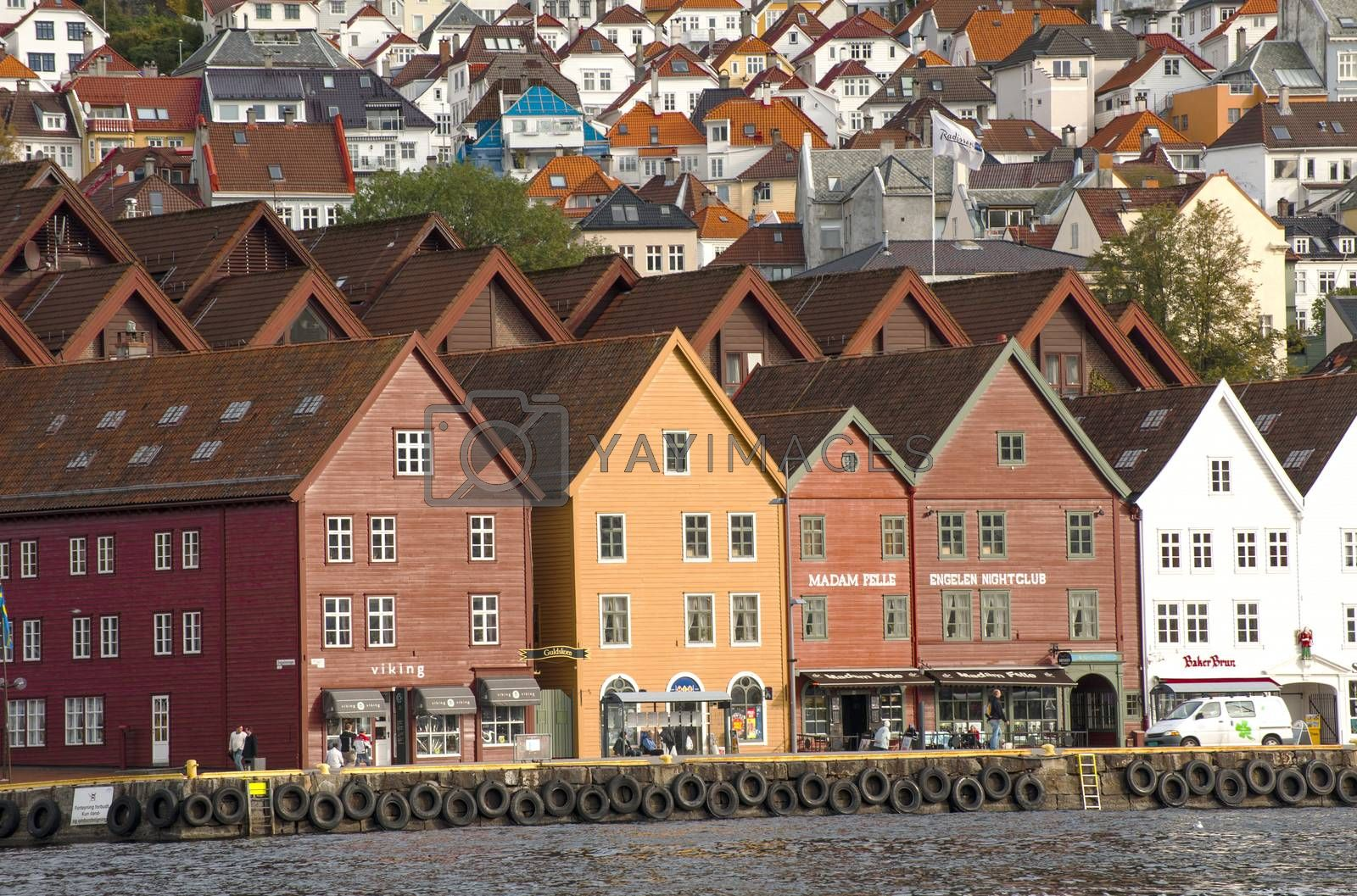 Bergen, Norway - October 14, 2010;  Bryggen in Bergen has become a symbol of our cultural heritage and has gained a place on UNESCO's World Heritage List. The old Hanseatic wharf is architecturally unique and is perhaps one of the most familiar image in all of Norway.