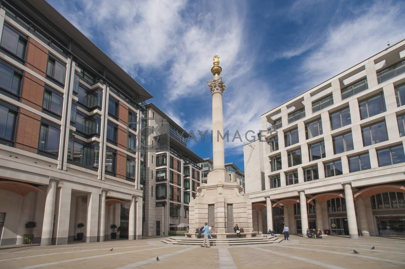 London, United Kingdom - September 17,2011;  Paternoster Square in London, redeveloped in 2003, is near St Paul's Cathedral. The area was devastated by aerial bombardment in during World War II.