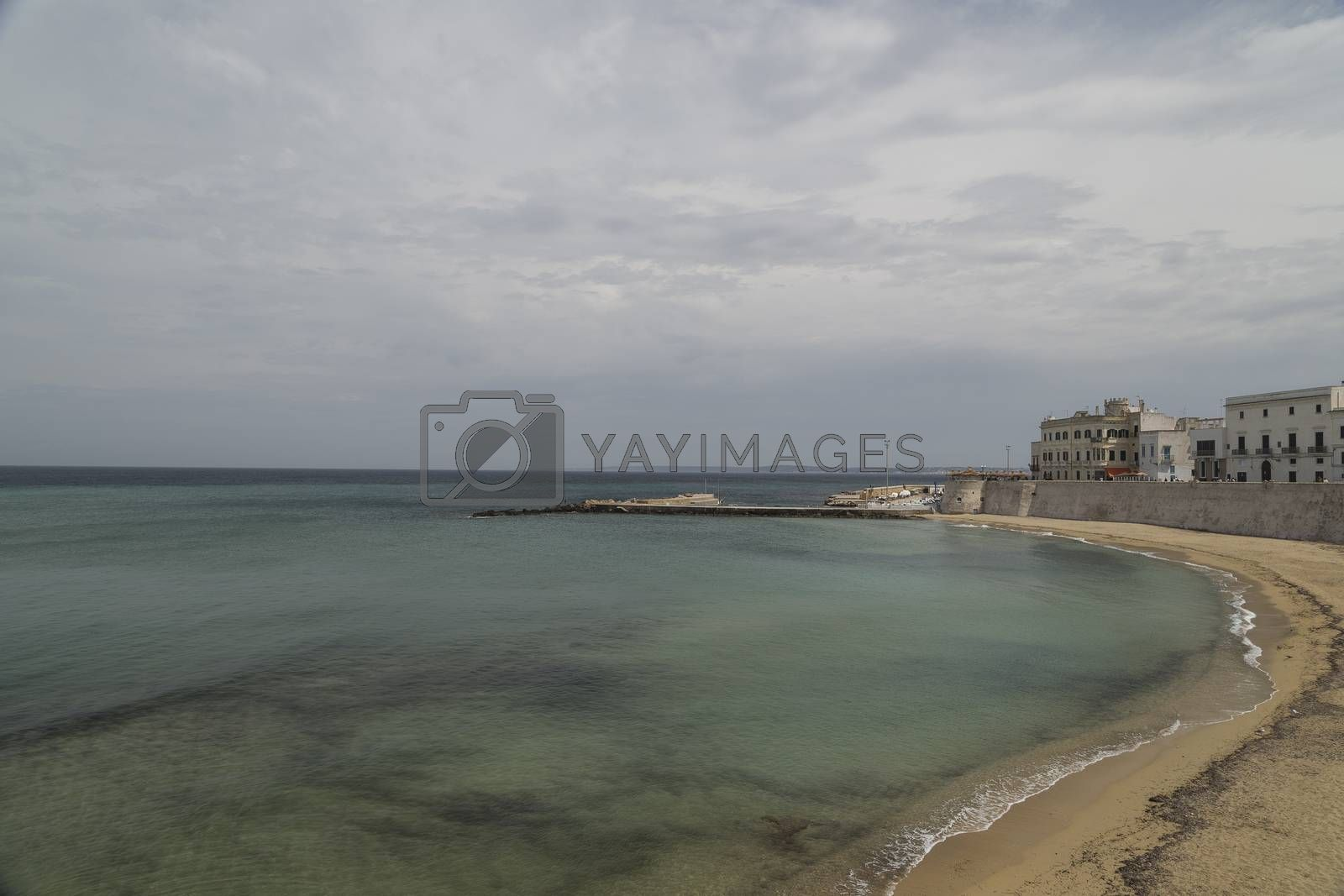 La Puritate (that is the purity) view: the beach of the old town of Gallipoli (Le) in the southern of Italy