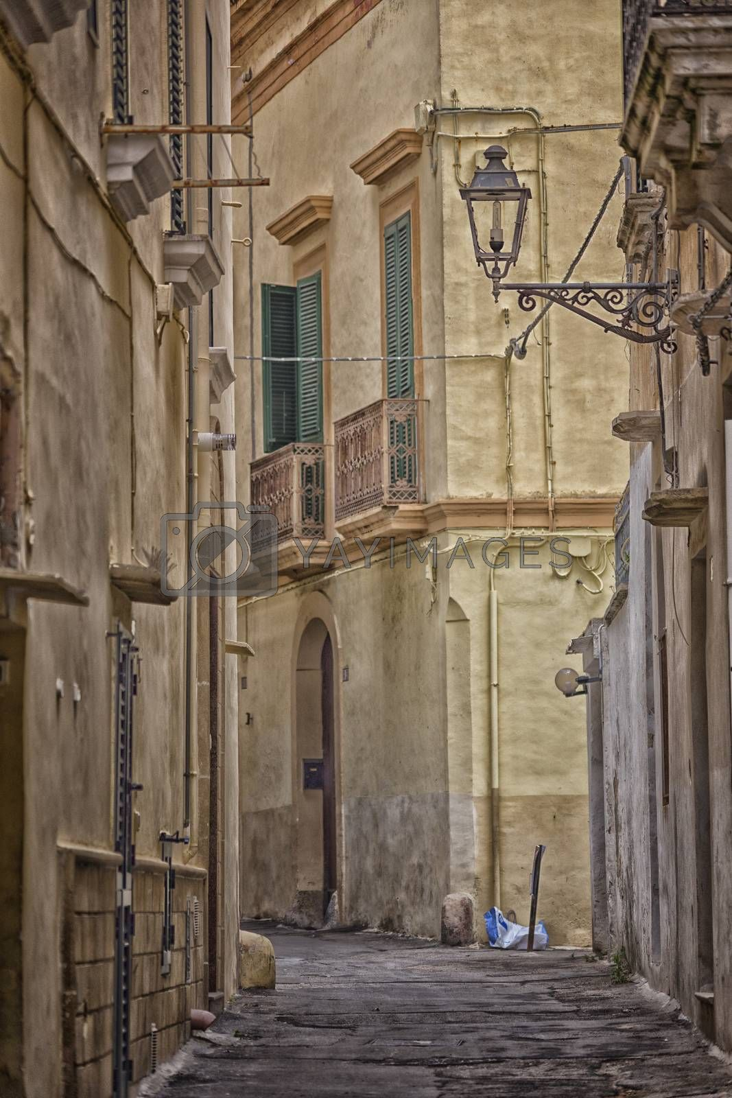 Old alley  in the old town of Gallipoli (Le)) in the southern of Italy