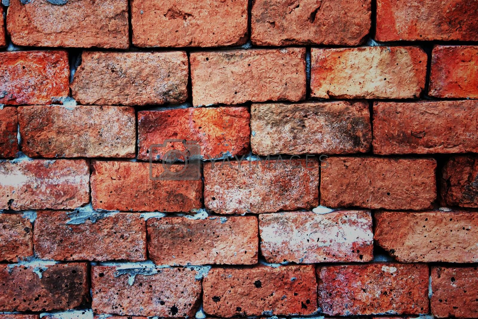 The Brick Background vivid color arising from various types of stone.