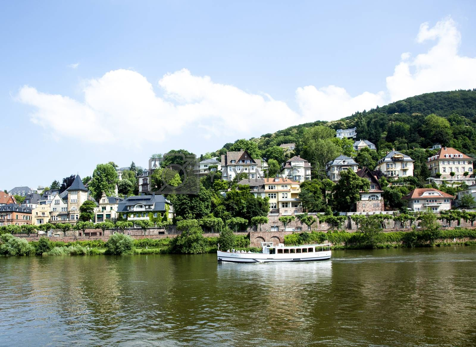 HEIDELBERG, GERMANY - JULY 6, 2013: river cruise ship on the Neckar in Heidelberg. River cruises on scenic Neckar River are popular for visitors of Heidelberg.
