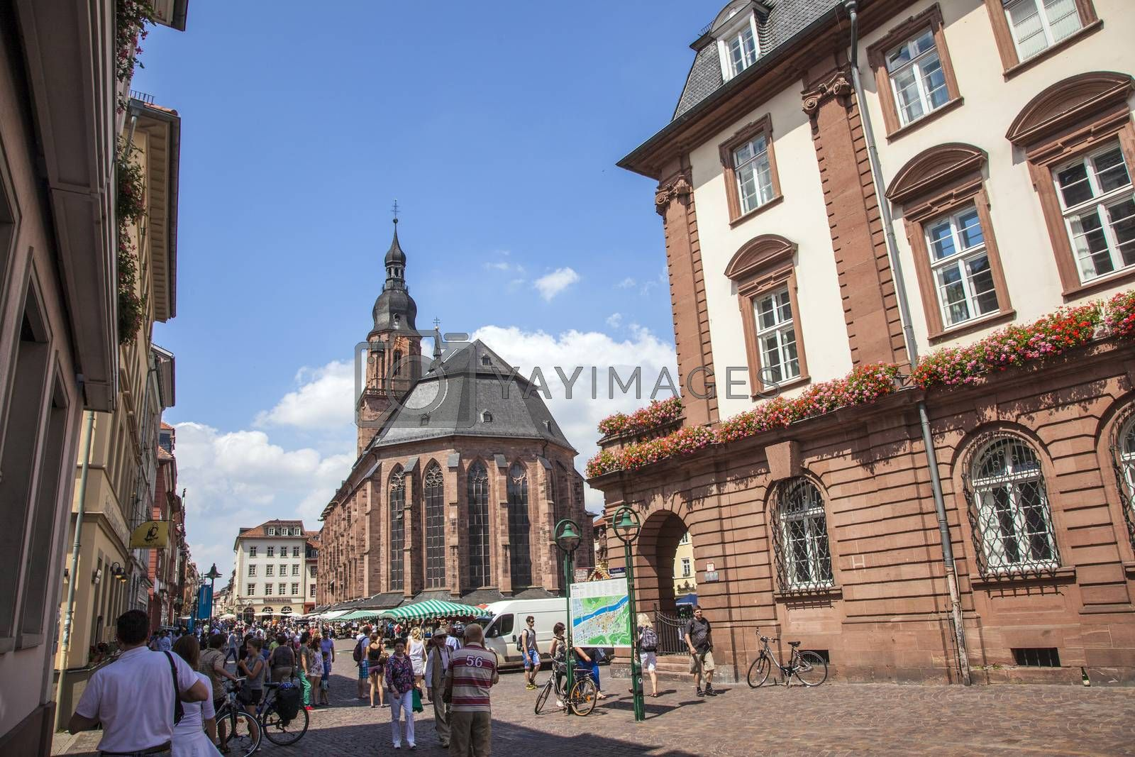 HEIDELBERG, GERMANY - JULY 6, 2013: Church of the Holy Spirit in Heidelberg, Germany . The Church of the Holy Spirit is first mentioned in 1239.
