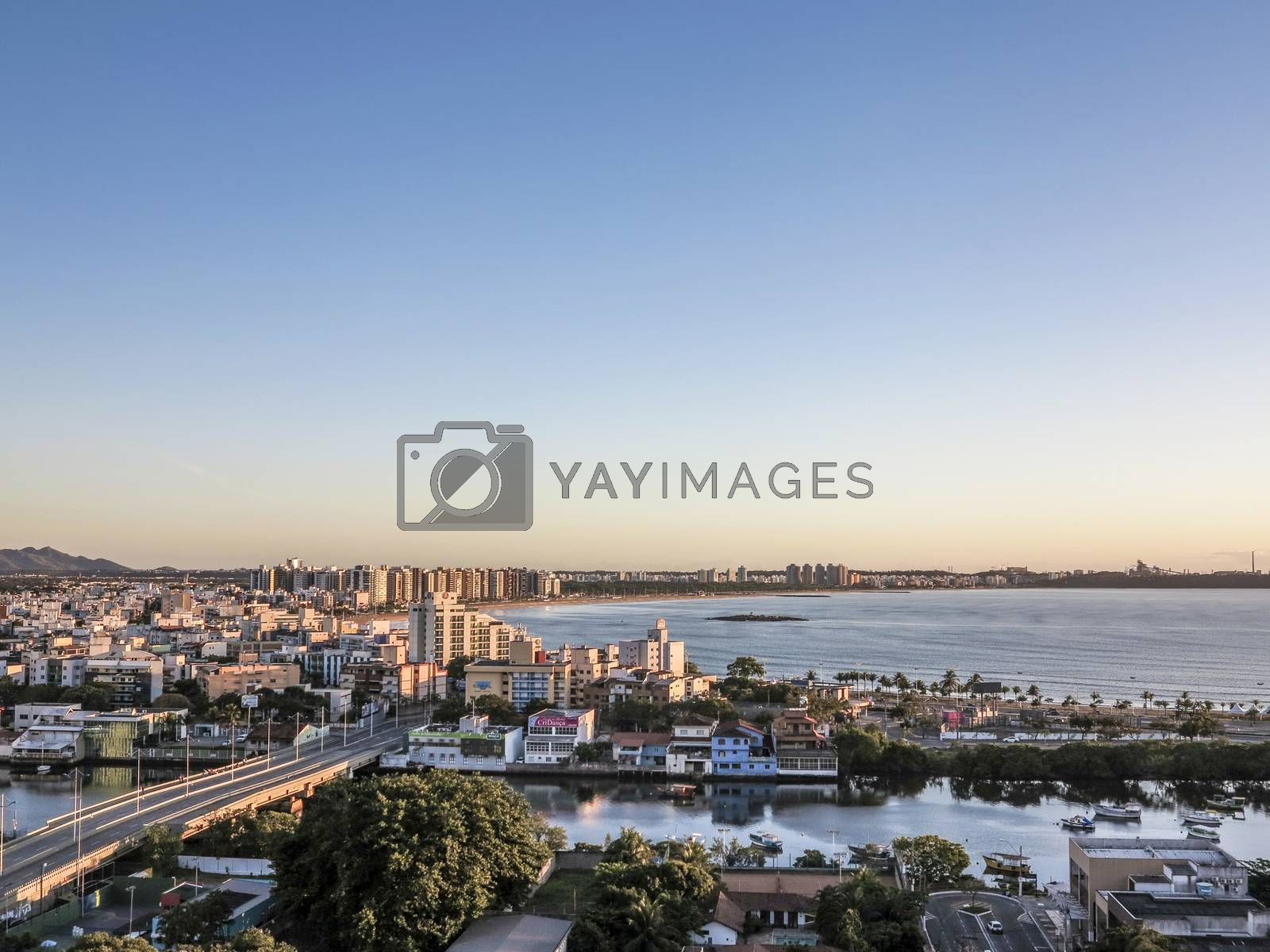 VITORIA, BRAZIL - OCT 27, 2013: aerial of Vitoria, Brazil in sunset. Vitoria has a population of 313 tst people in 2005 and covers an area of 93 square km.